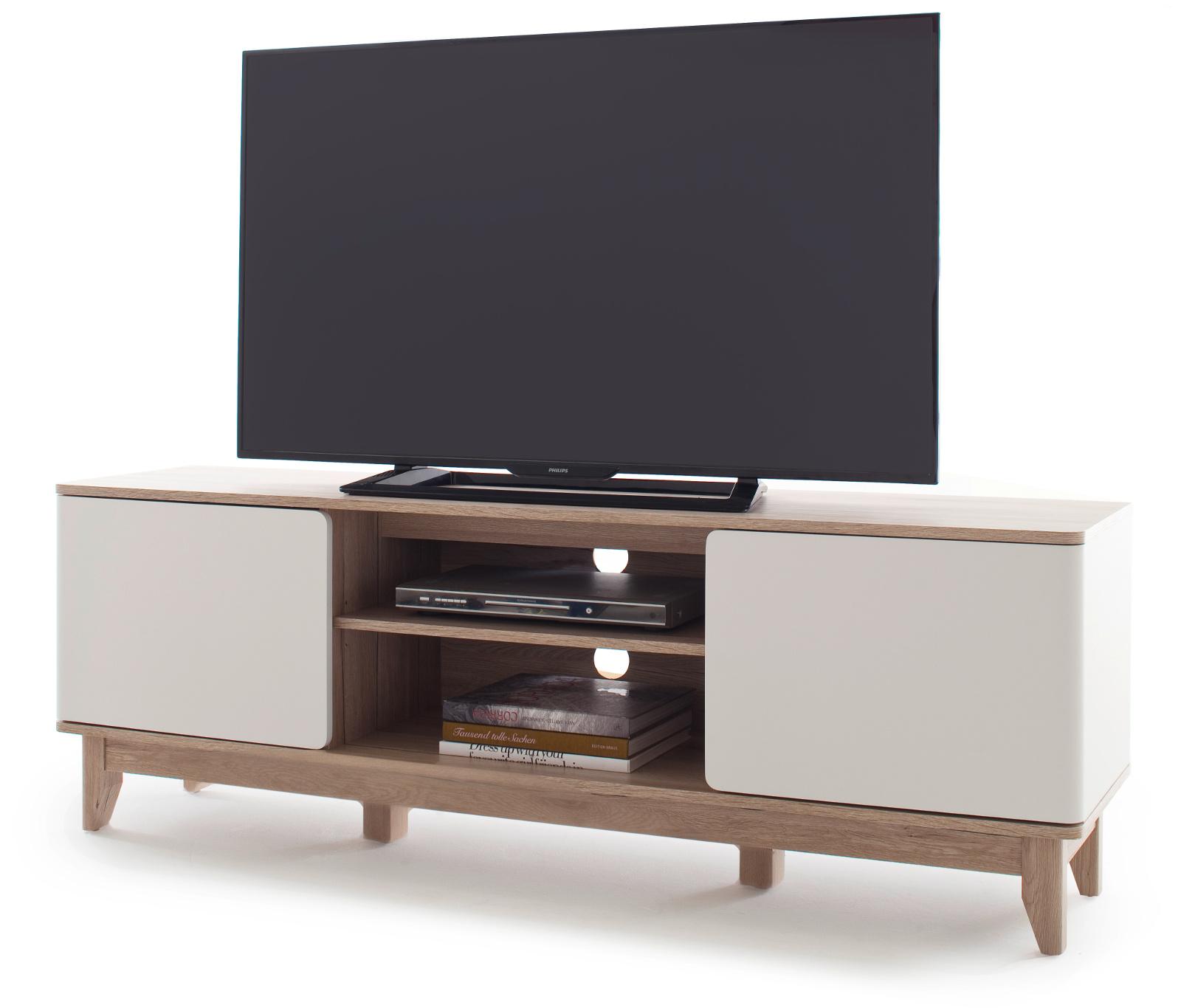 TV-Lowboard Monale weiß matt und Eiche San Remo 160 cm