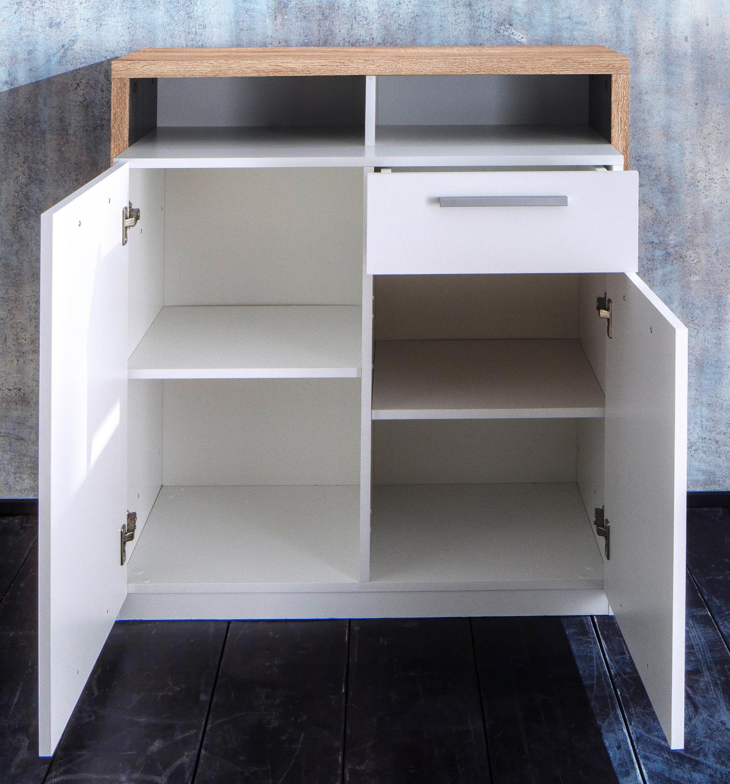 kommode mammut wei und eiche hell 89 cm. Black Bedroom Furniture Sets. Home Design Ideas