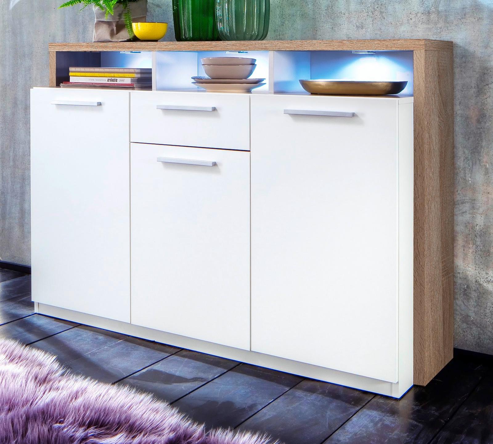 kommode mammut wei und eiche hell 130 cm. Black Bedroom Furniture Sets. Home Design Ideas