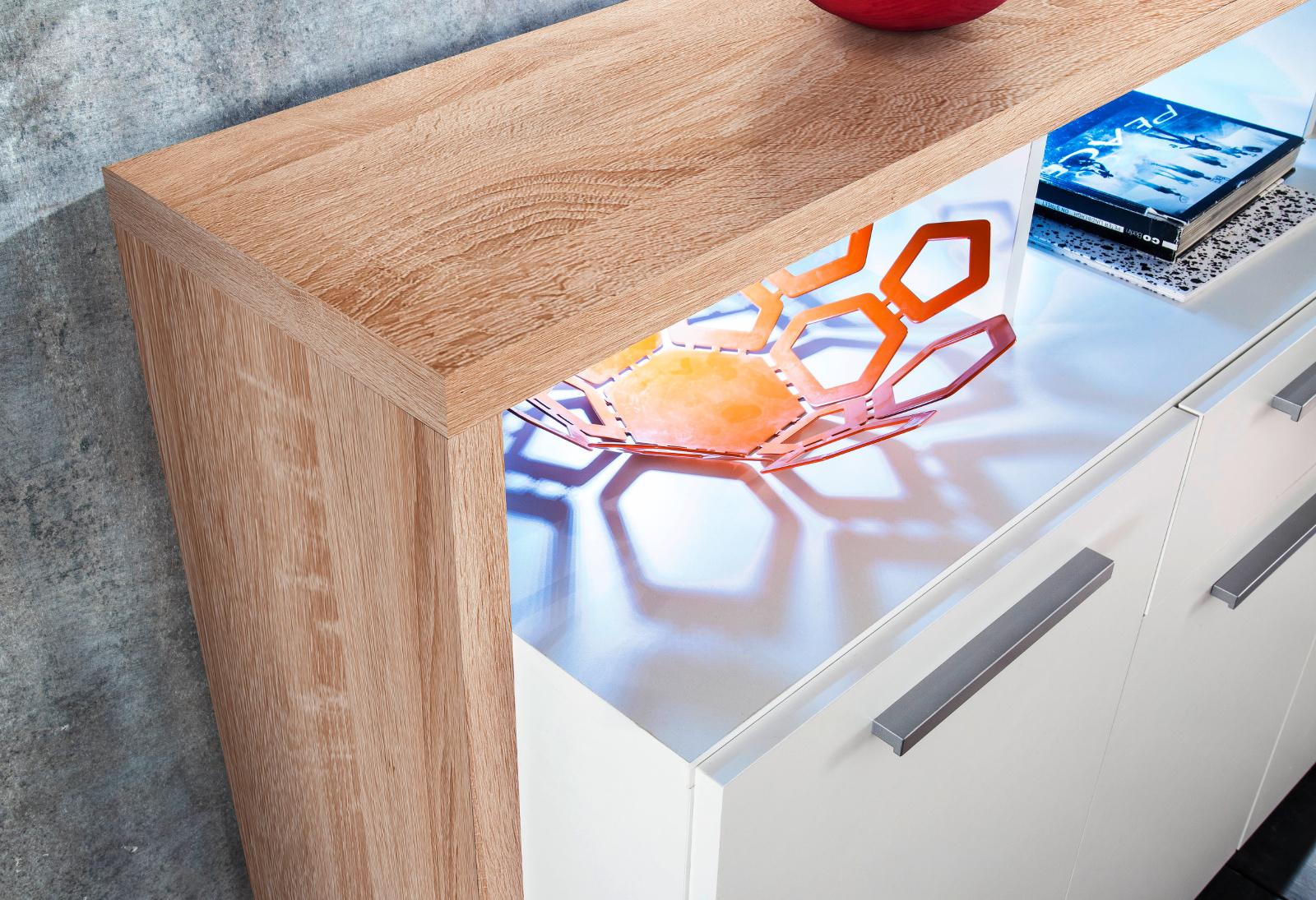 sideboard mammut wei und eiche hell 170 cm. Black Bedroom Furniture Sets. Home Design Ideas