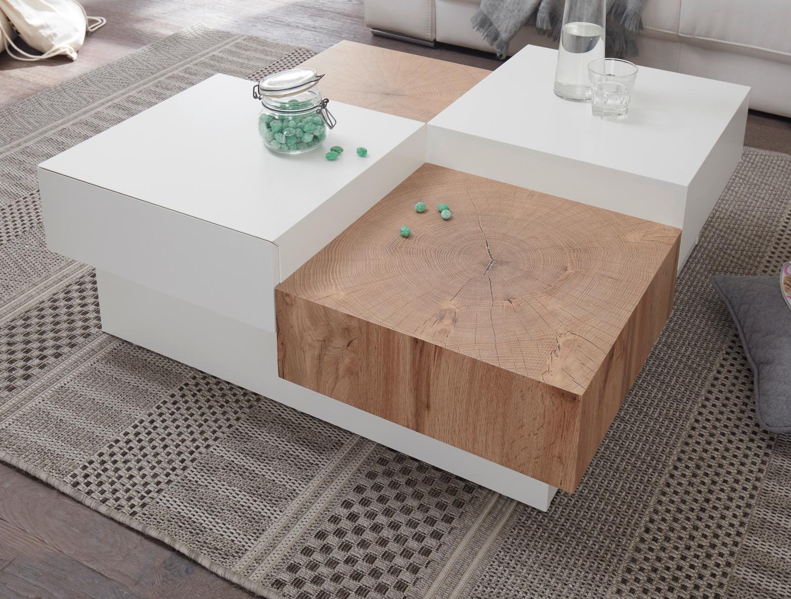 Couchtisch Pensa In Eiche Und Hochglanz Weiss Lackiert Wohnzimmertisch Mit 2 Schubkasten 90 X 90 Cm Quadratisch