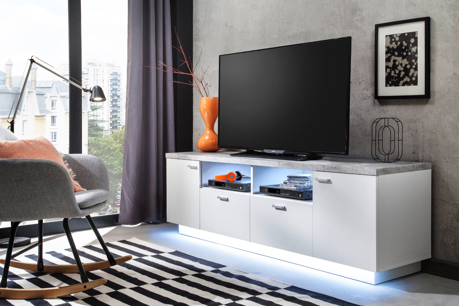 tv lowboard center wei und stone grau 180 cm. Black Bedroom Furniture Sets. Home Design Ideas