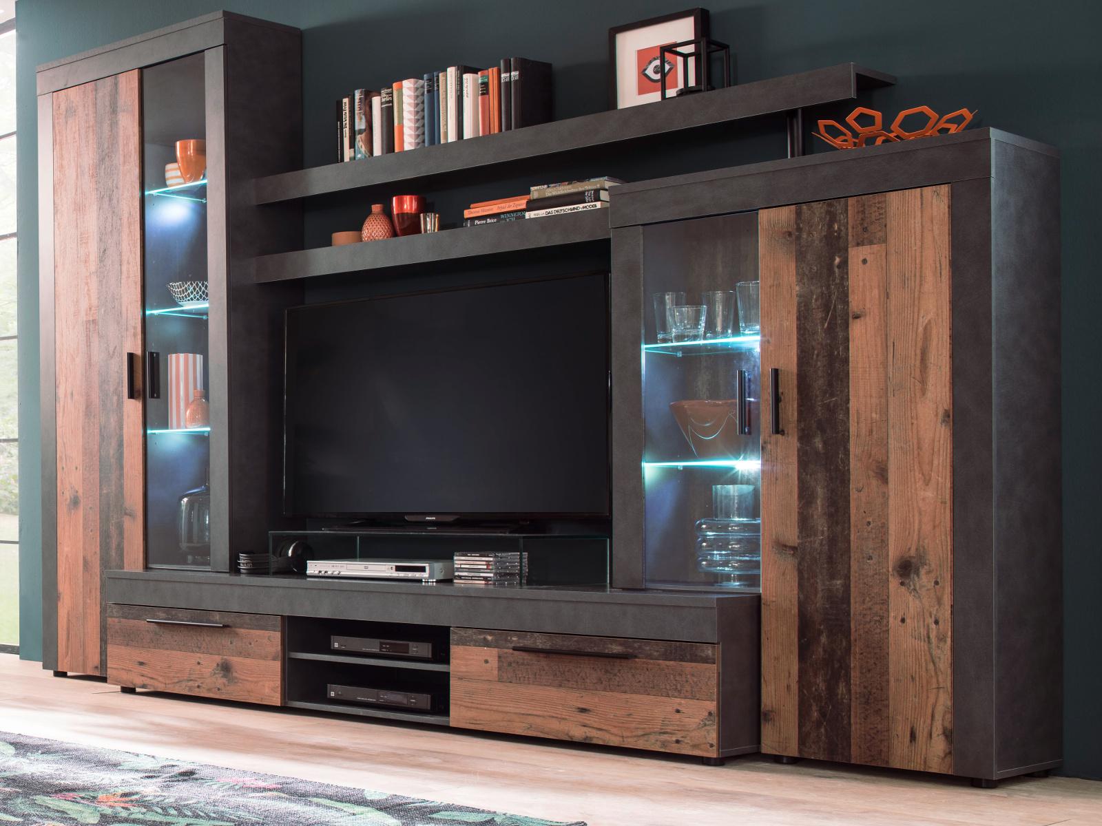 Wohnwand Boom In Used Wood Shabby Design Mit Matera Grau Schrankwand 308 X 212 Cm Inkl Led Beleuchtung