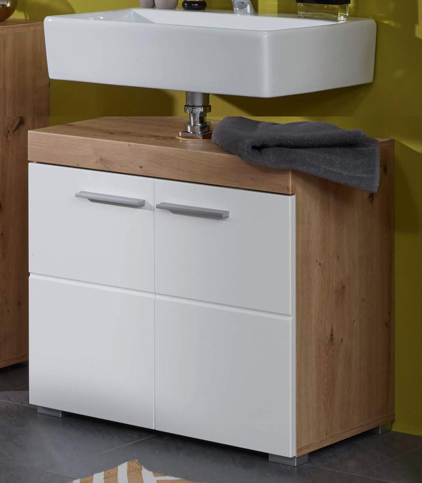 Badezimmer Waschbeckenunterschrank Amanda in Hochglanz weiß und Eiche  Asteiche Badmöbel 20 x 20 cm