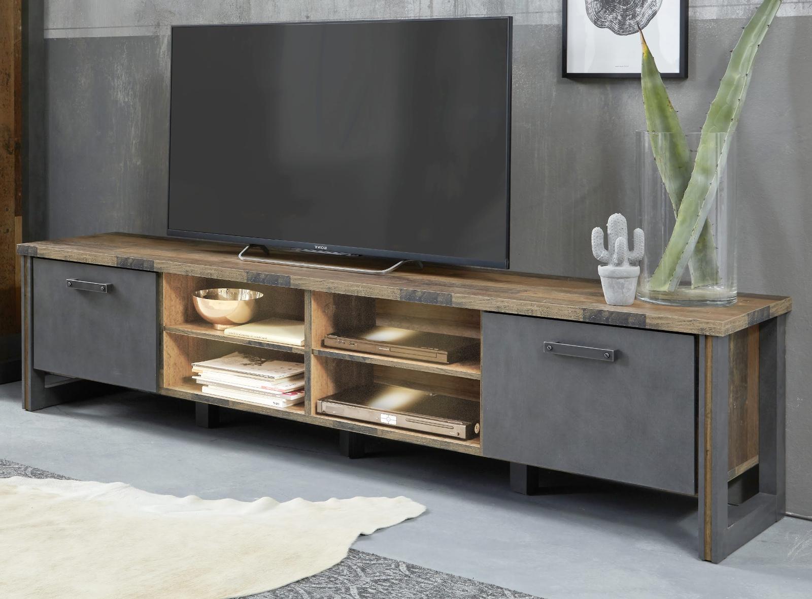 TV-Lowboard Prime in Old Used Wood Design mit Matera grau TV-Unterteil  Shabby 207 x 52 cm
