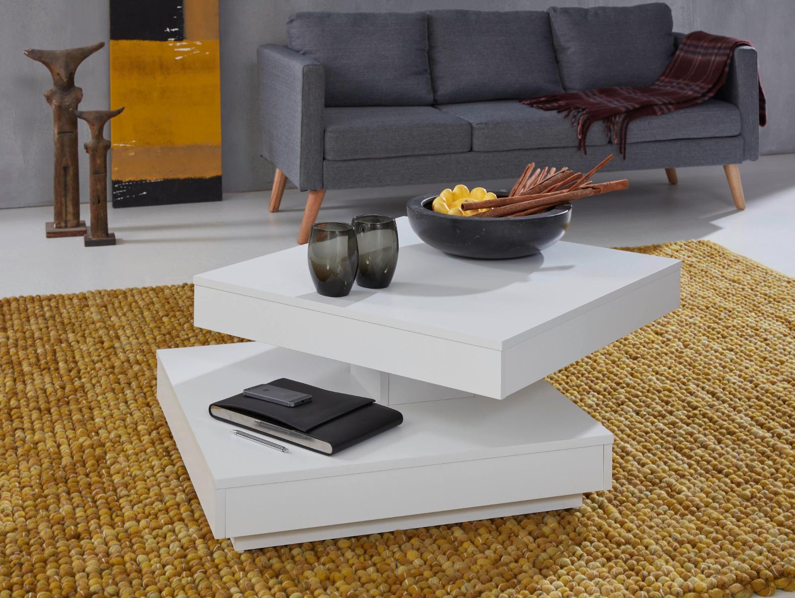 couchtisch wei drehbar quadratisch 70 cm. Black Bedroom Furniture Sets. Home Design Ideas