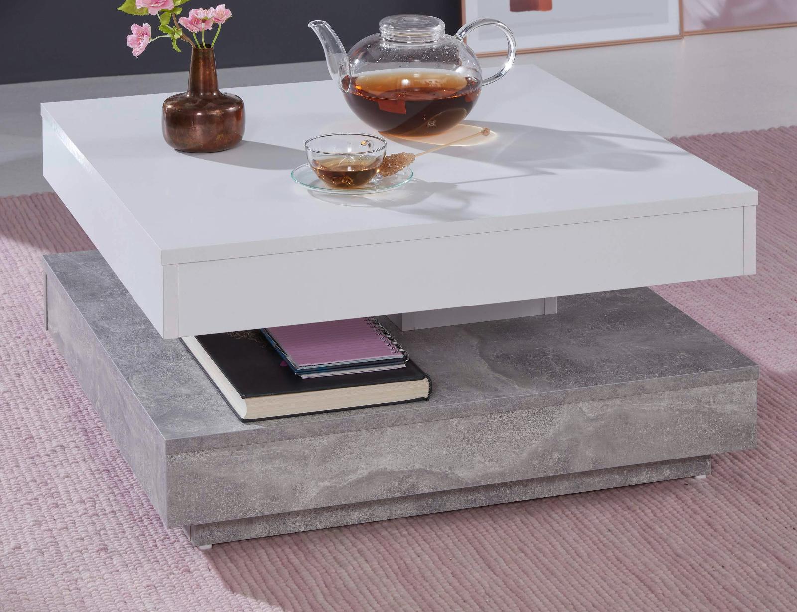 couchtisch wei stone grau drehbar quadratisch 70 cm. Black Bedroom Furniture Sets. Home Design Ideas