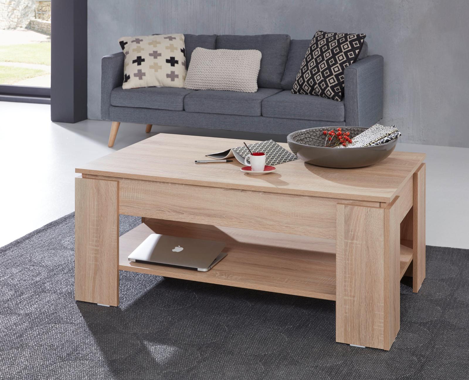 couchtisch sonoma eiche hell 107 cm ausklappbar. Black Bedroom Furniture Sets. Home Design Ideas