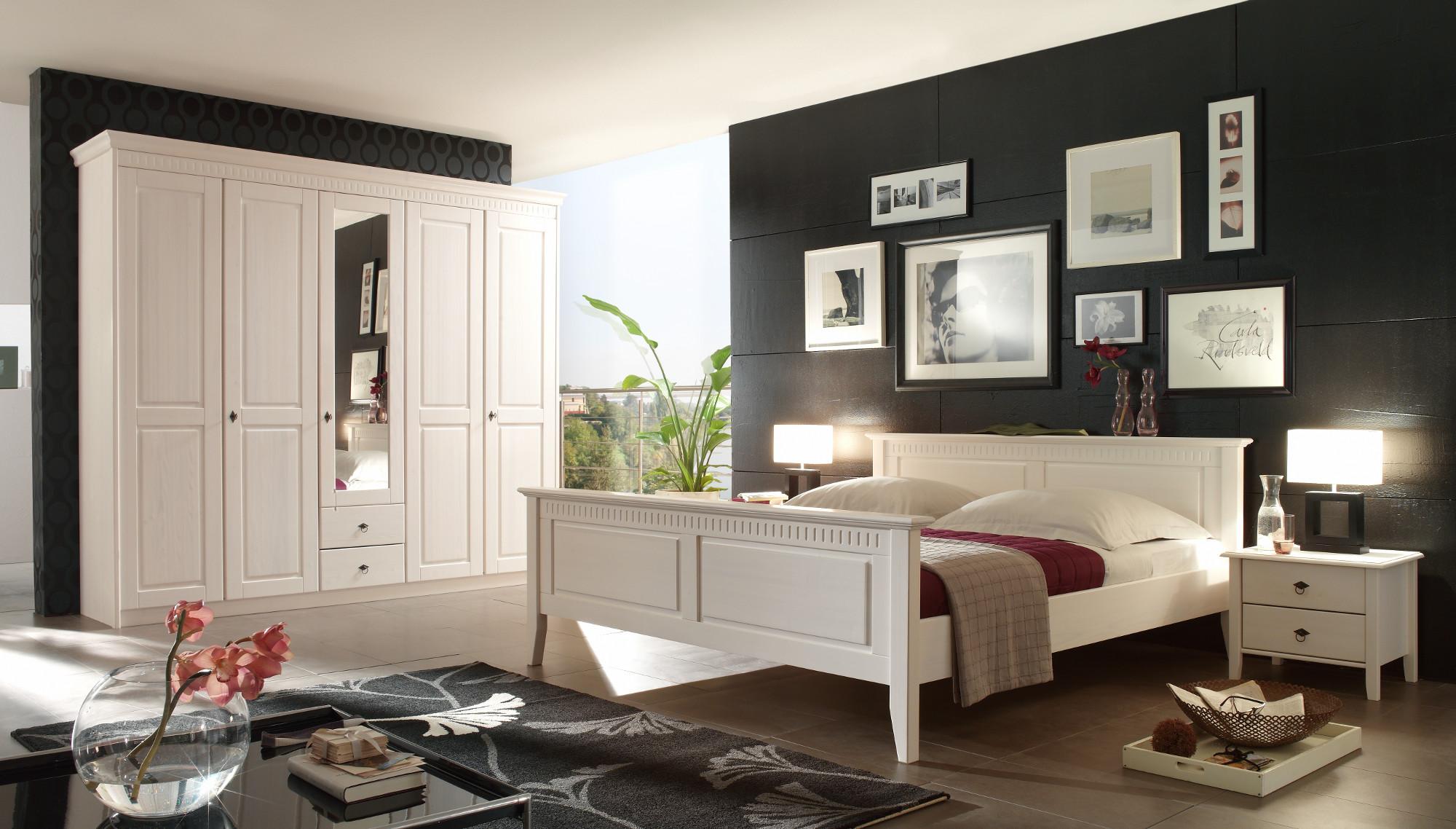 Schlafzimmer Kiefer massiv weiß Landhaus Bolzano LAGER