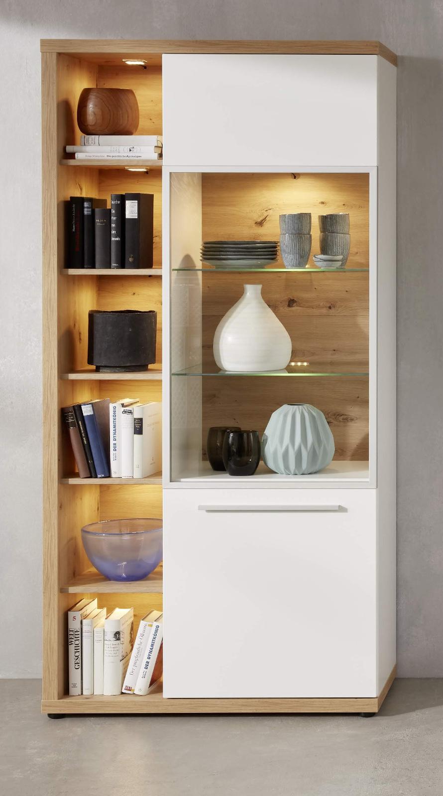 vitrine odino hochglanz wei und eiche 84 cm. Black Bedroom Furniture Sets. Home Design Ideas