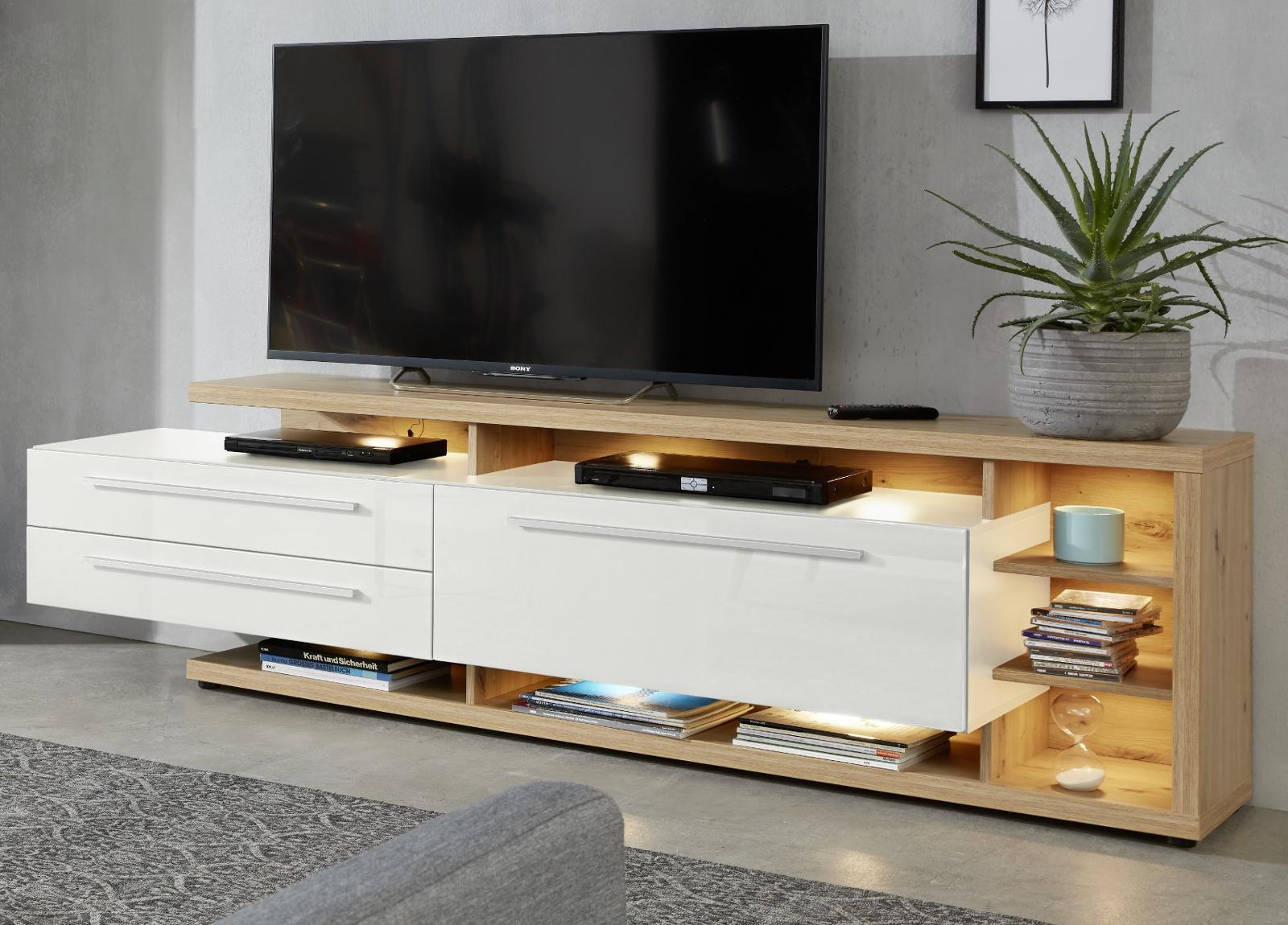 tv lowboard odino hochglanz wei und eiche 210 cm. Black Bedroom Furniture Sets. Home Design Ideas