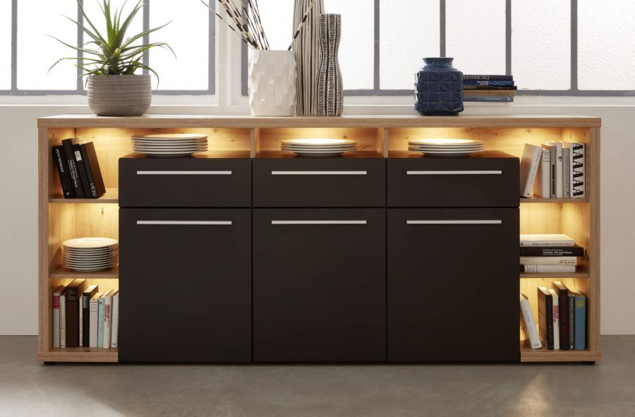 sideboard odino matt grau und eiche 210 cm. Black Bedroom Furniture Sets. Home Design Ideas