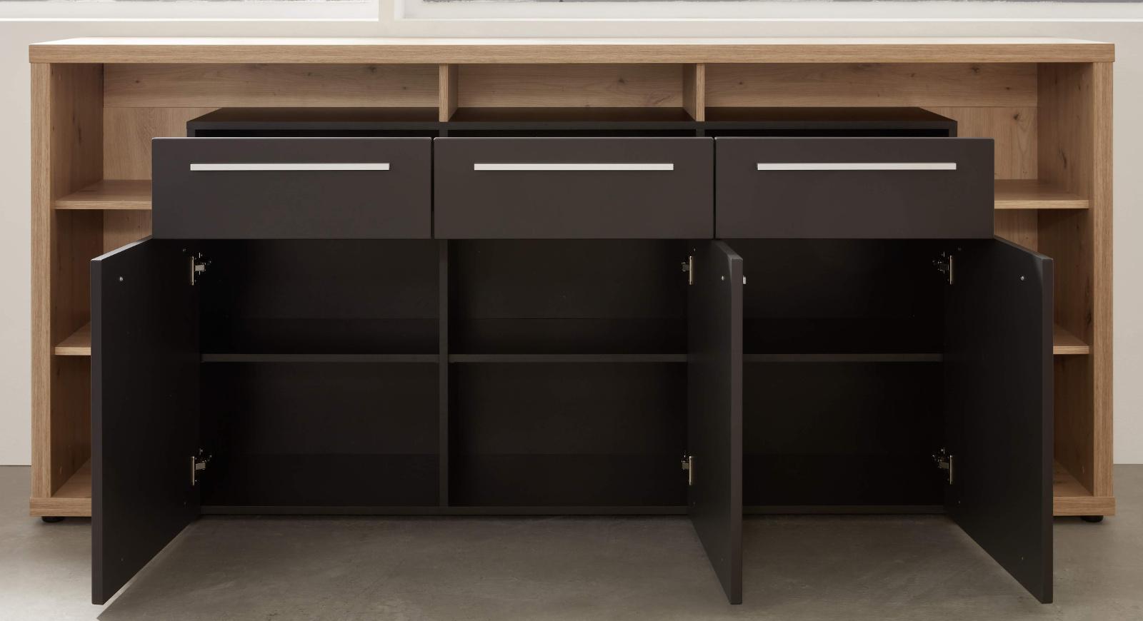 sideboard odino matt grau und eiche 210 cm. Black Bedroom Furniture Sets. Home Design Ideas
