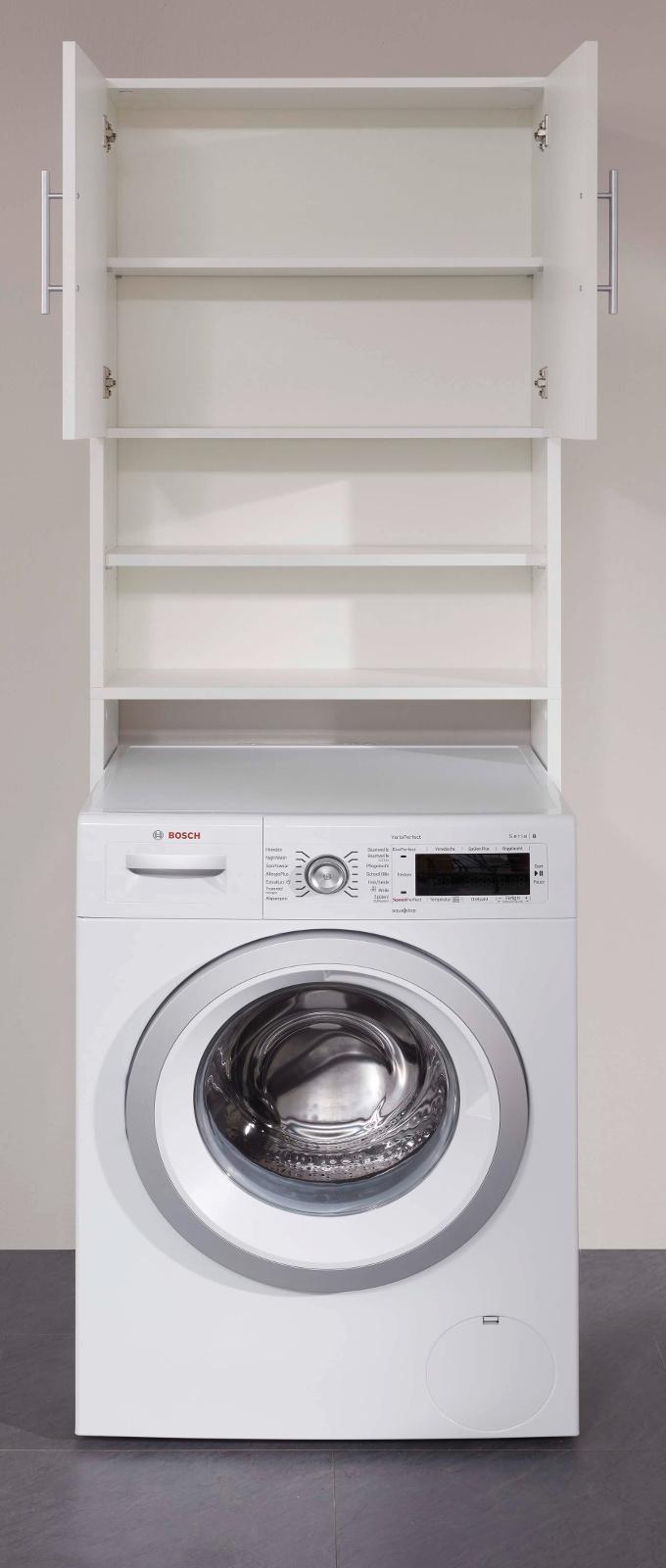 Waschmaschinenschrank Basix in weiß Badmöbel 20 x 20 cm  Waschmaschinenüberbau