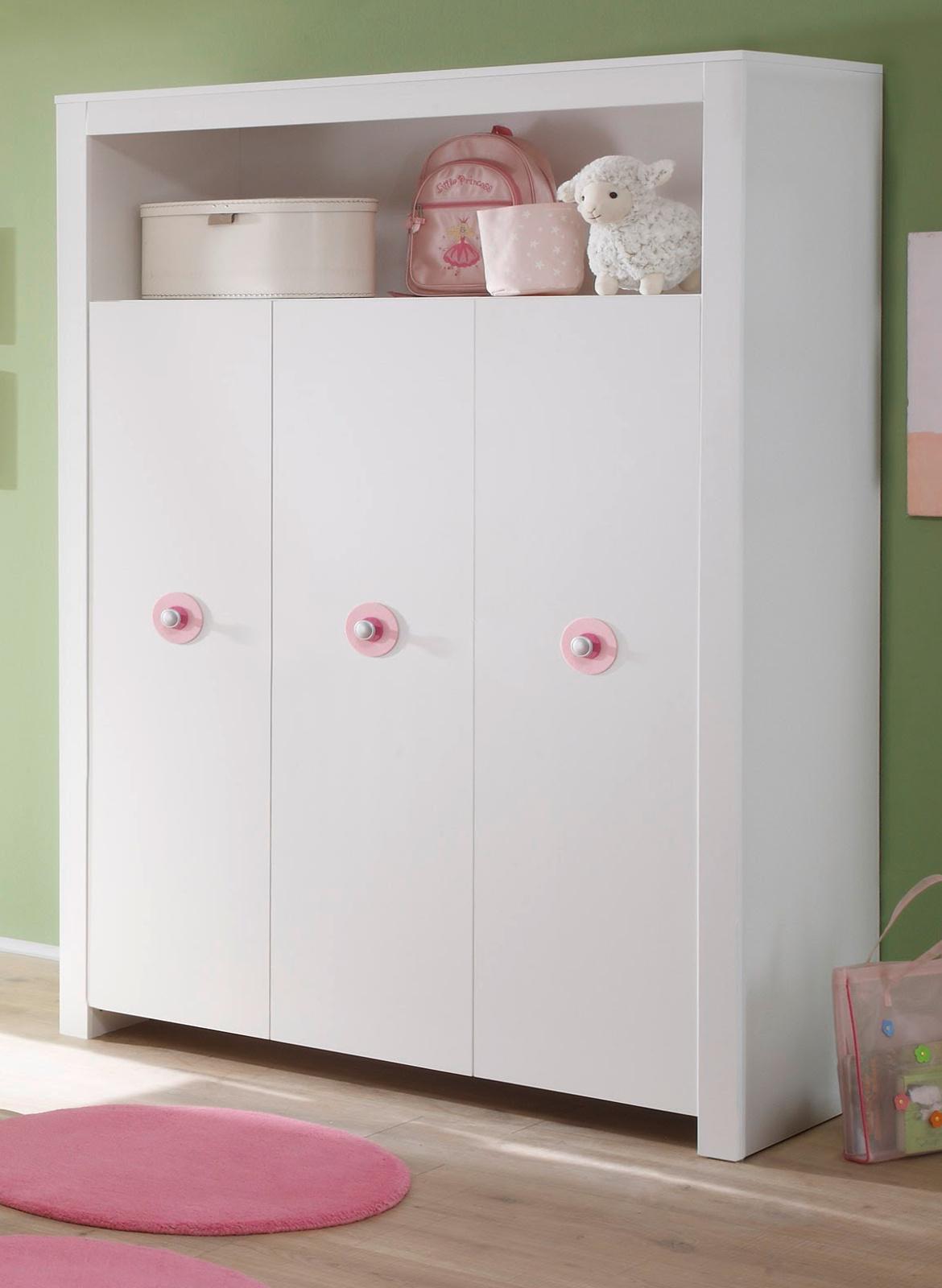baby schrank kleiderschrank weiß 3-türig rosa kinderzimmer möbel ... - Eckkleiderschrank Weis Kinderzimmer