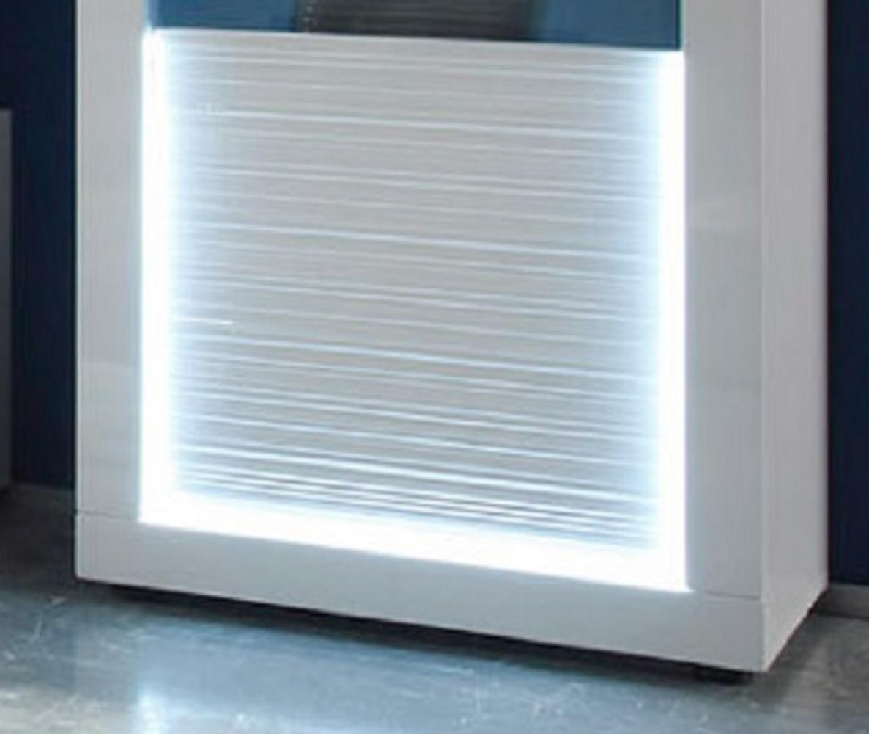 Wohnwand weiß hochglanz  Wohnwand weiß Hochglanz Rillenoptik mit LED