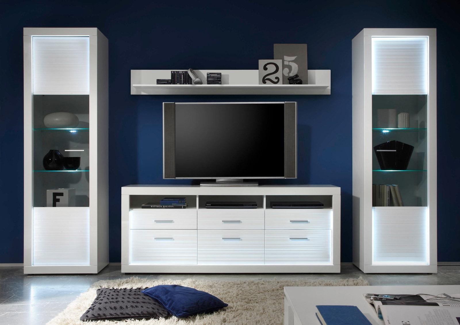 Wohnwand Starlight Weiß Hochglanz Mit Rillenoptik Inklusive LED Beleuchtung  Schrankwand 320 Cm
