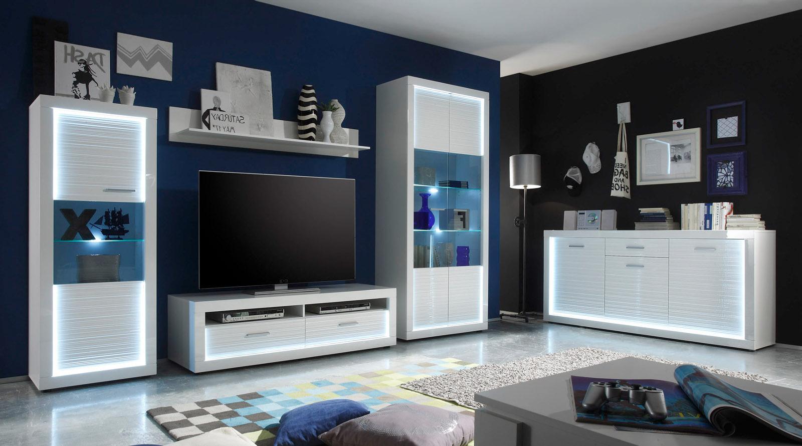 sideboard kommode wei hochglanz rillenoptik led. Black Bedroom Furniture Sets. Home Design Ideas
