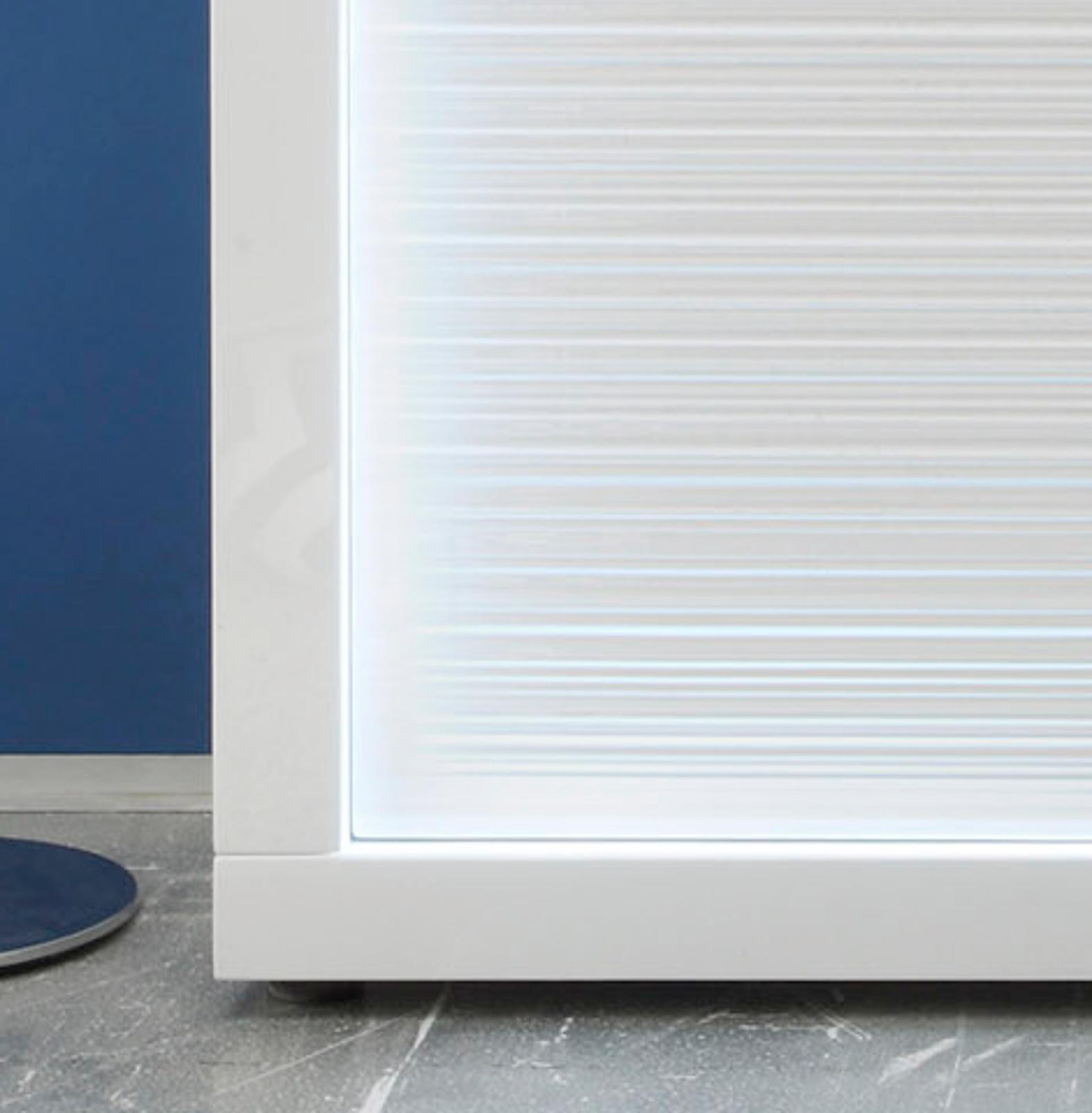 Sideboard Kommode Weiß Hochglanz Rillenoptik LED