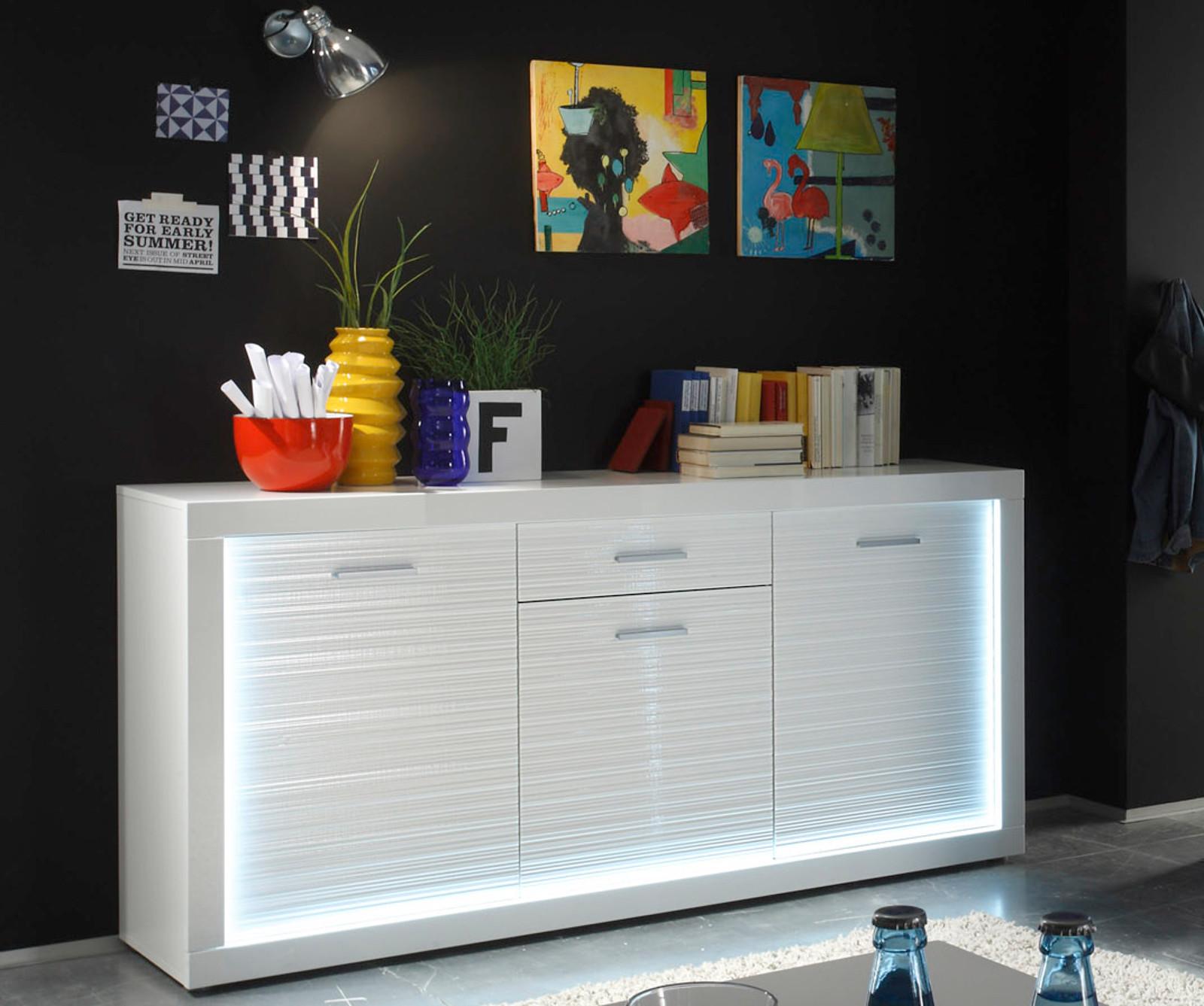 Sideboard weiß hochglanz led  Sideboard Kommode weiß Hochglanz Rillenoptik LED