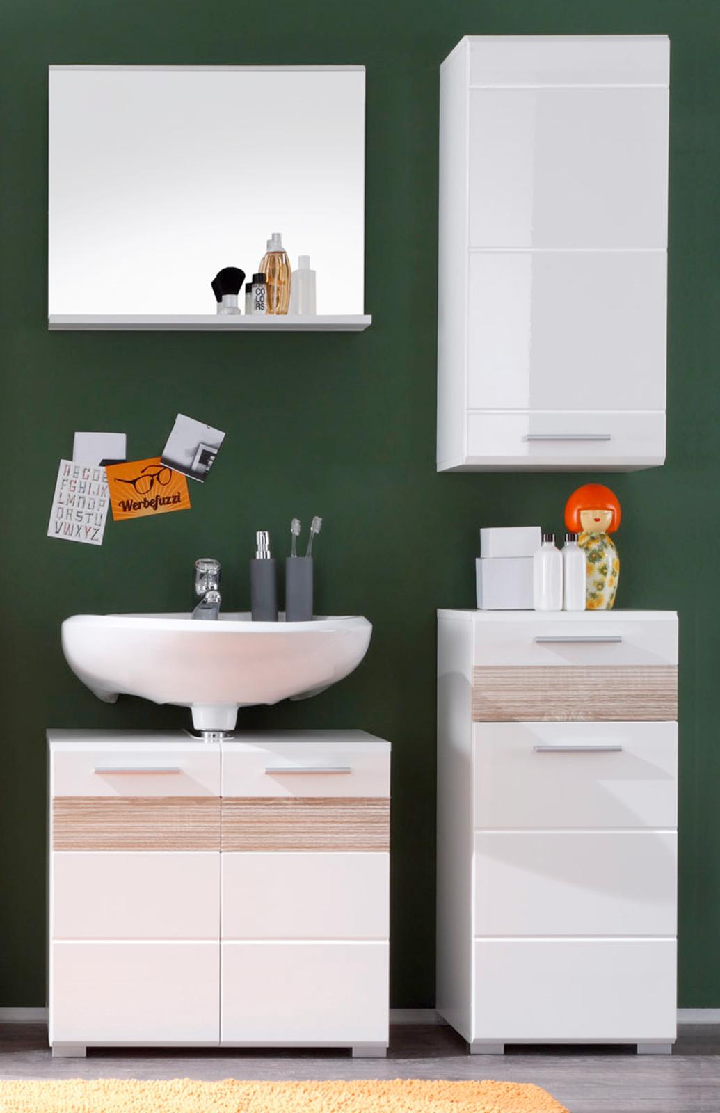 badm bel badezimmer set wei hochglanz eiche mit hochschrank und kommode mezzo ebay. Black Bedroom Furniture Sets. Home Design Ideas