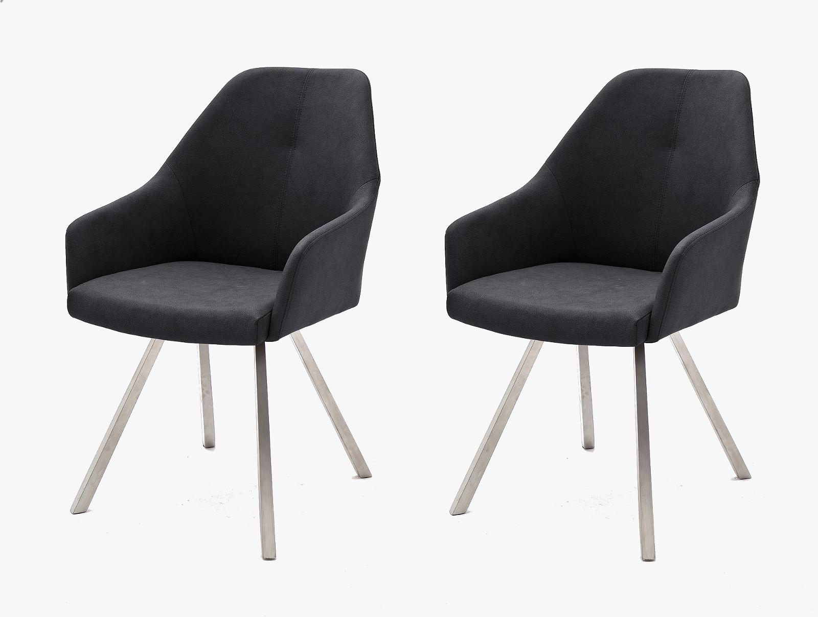 2 x Stuhl Madita in Anthrazit Kunstleder und Edelstahl 4 Fuß eckig Esszimmerstuhl 2er Set Armlehnenstuhl Schalenstuhl