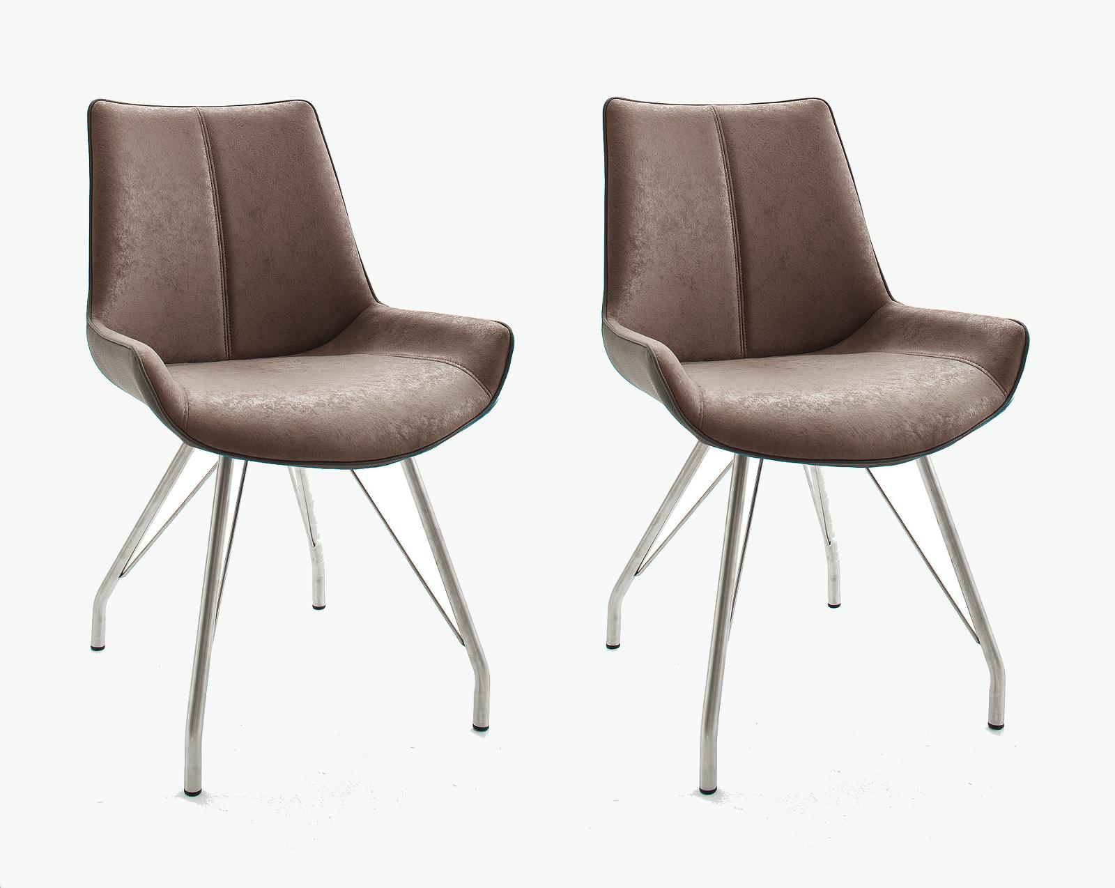 2 x Stuhl Danita in Cappuccino Vintage Kunstleder und Edelstahl 4 Fuß Gestell Esszimmerstuhl 2er Set Schalenstuhl