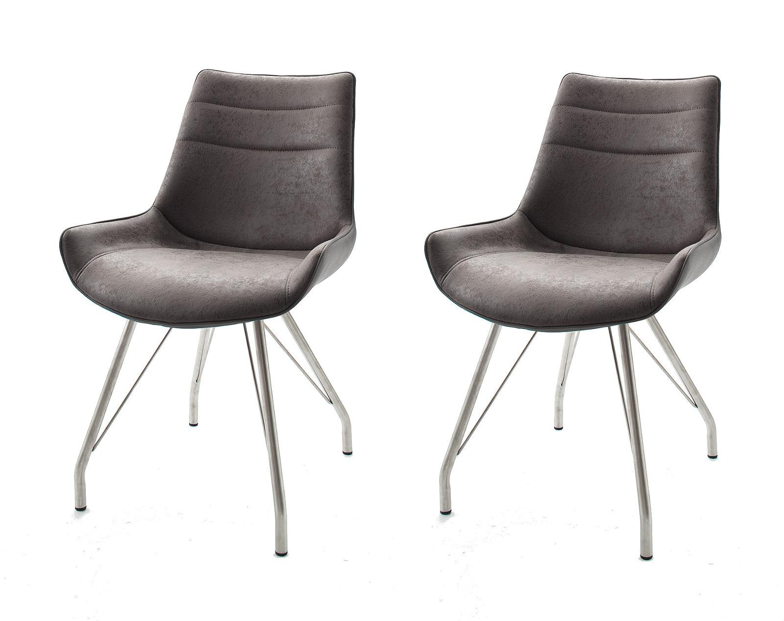 2 x Stuhl Danita in Grau Vintage Kunstleder und Edelstahl 4 Fuß Gestell Esszimmerstuhl 2er Set Schalenstuhl