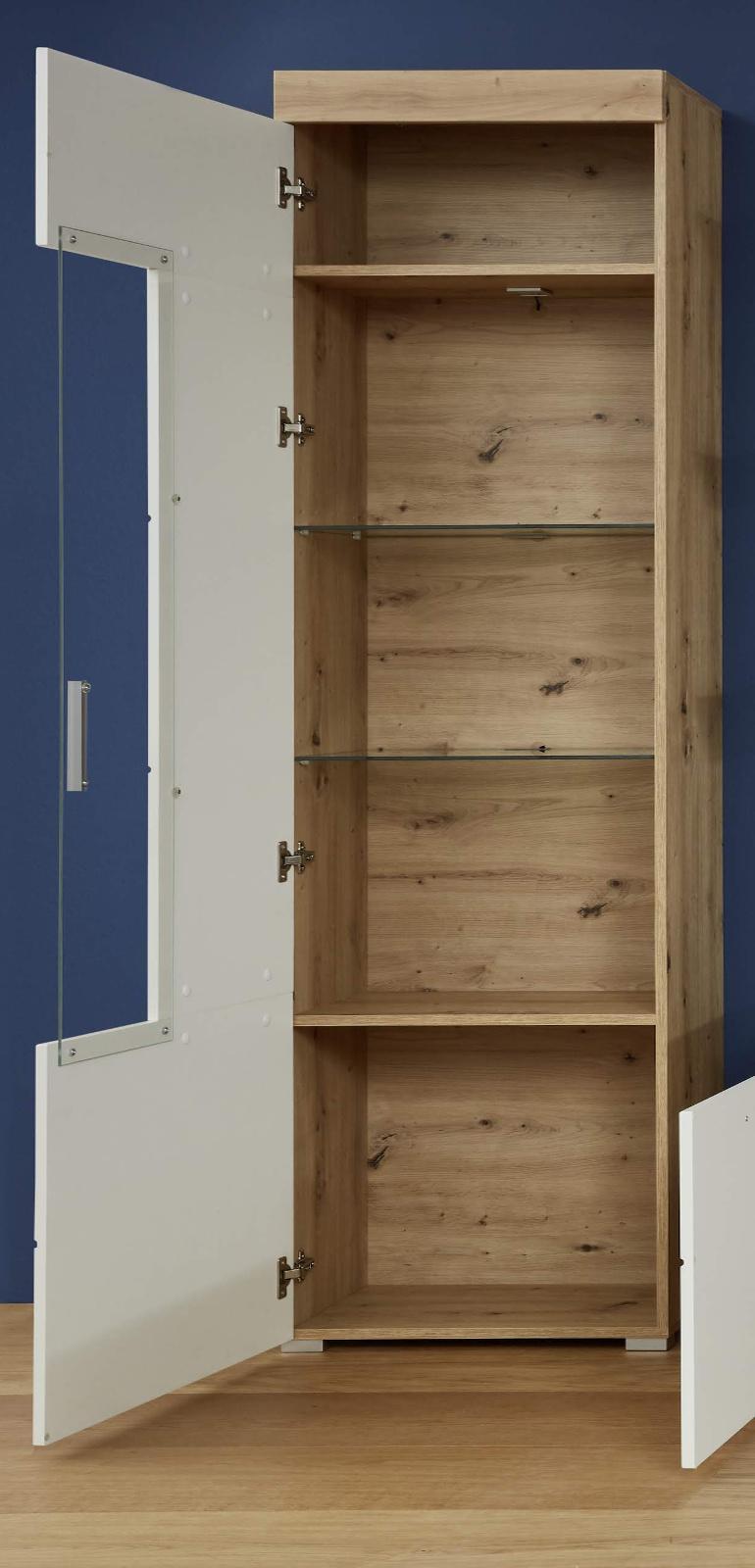 vitrine amanda hochglanz wei und eiche 55 cm. Black Bedroom Furniture Sets. Home Design Ideas
