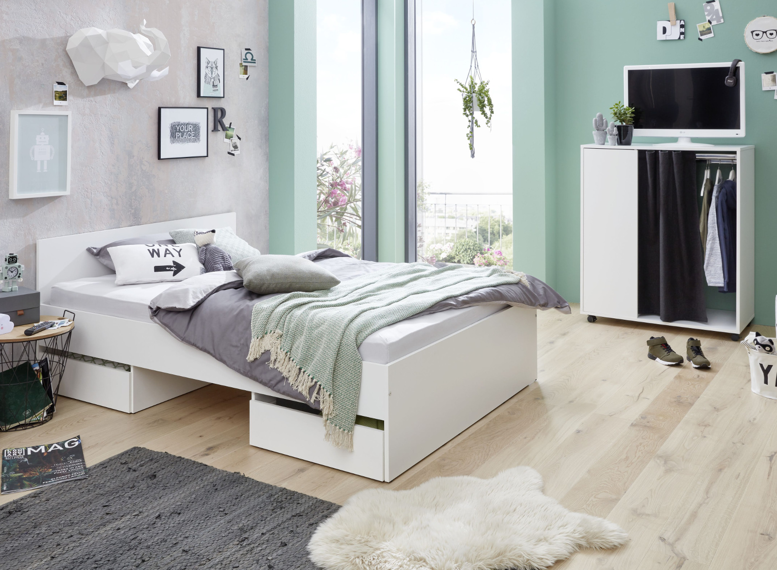 jugendzimmer kleiderschrank sugar in wei. Black Bedroom Furniture Sets. Home Design Ideas