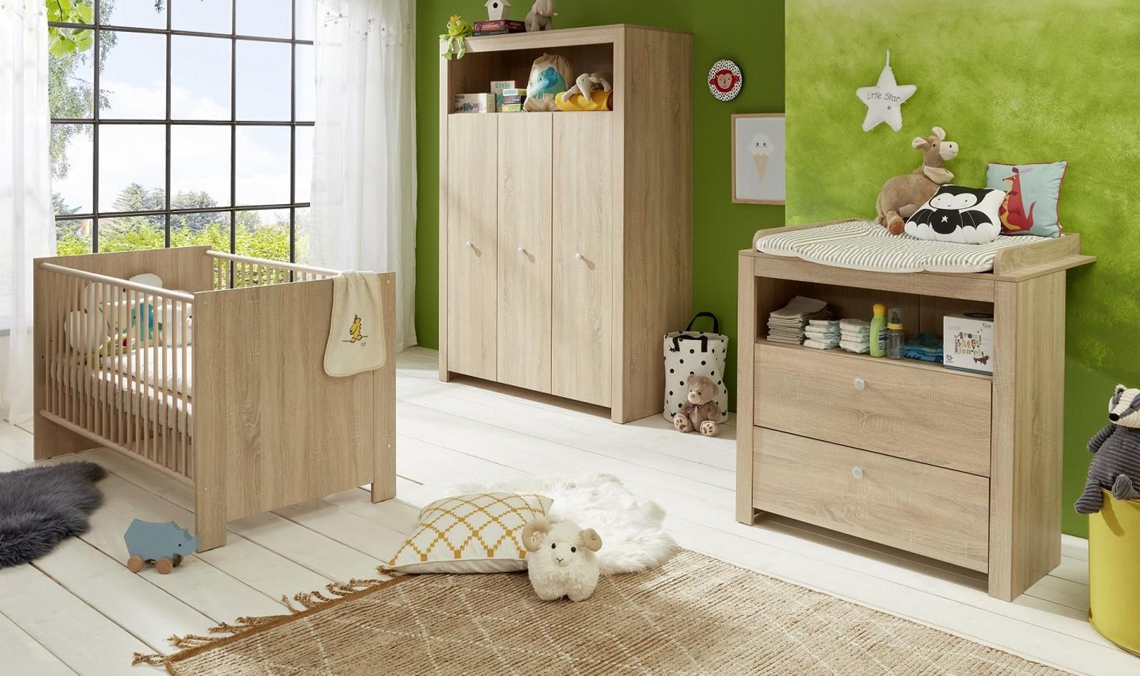 Babyzimmer Olivia Komplett Set 3 Teilig In Sonoma Eiche Hell Sagerau Mit Wickelkommode Kleiderschrank Und Babybett