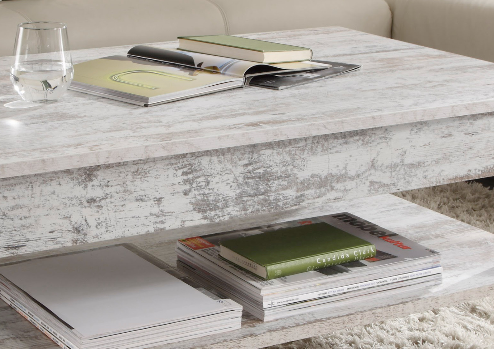 Couchtisch Wohnzimmer Tisch Pinie Weiß Shabby .