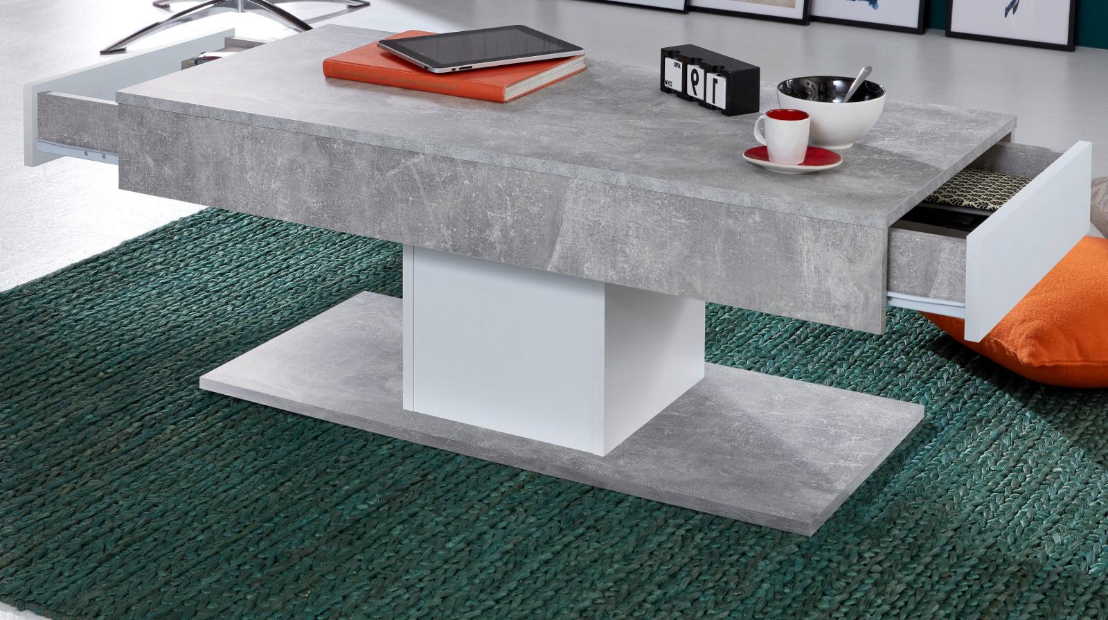 couchtisch universal stone design grau und wei 110 cm. Black Bedroom Furniture Sets. Home Design Ideas