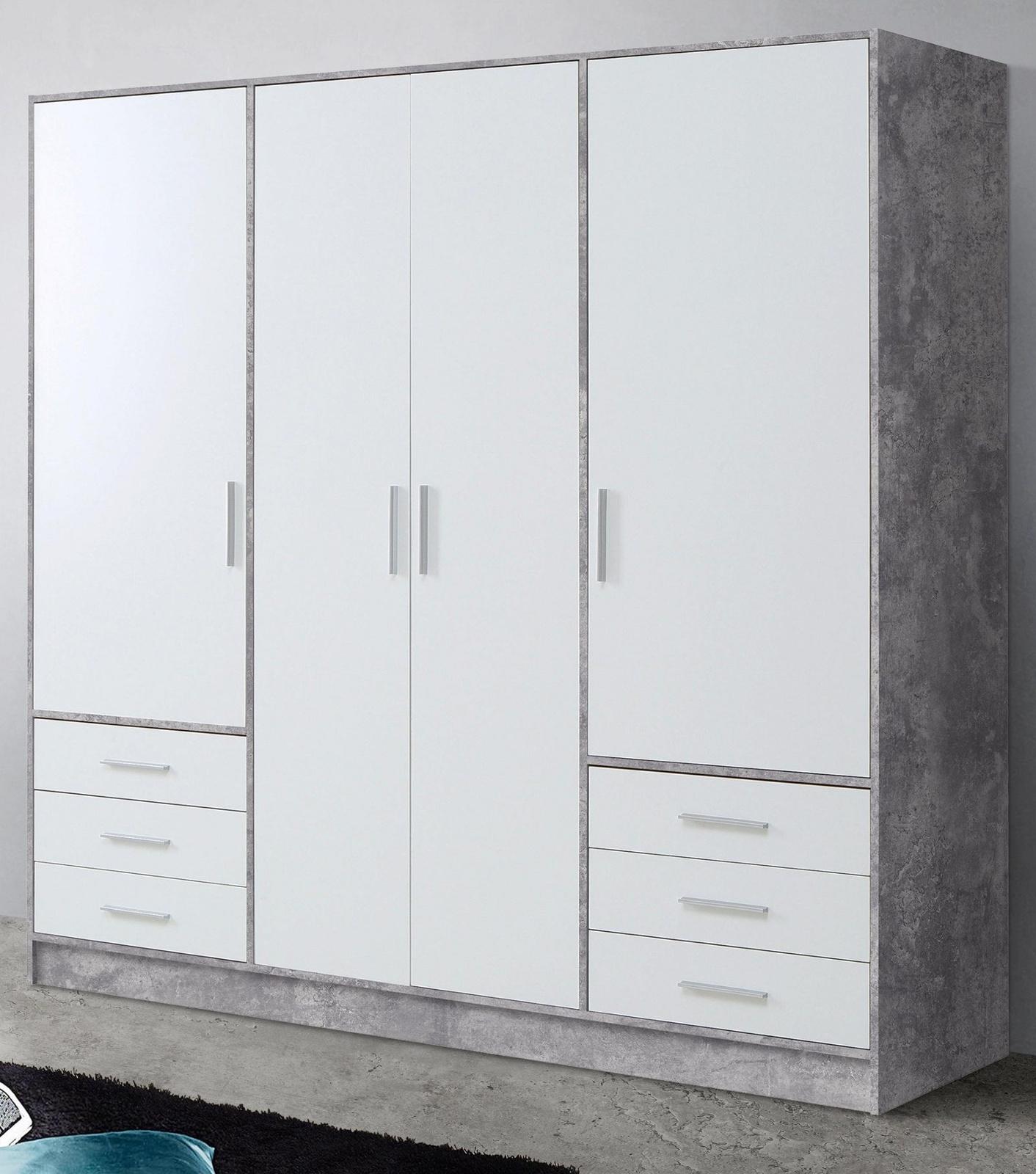 Kleiderschrank Jupiter Stone Design Und Weiss 207 Cm