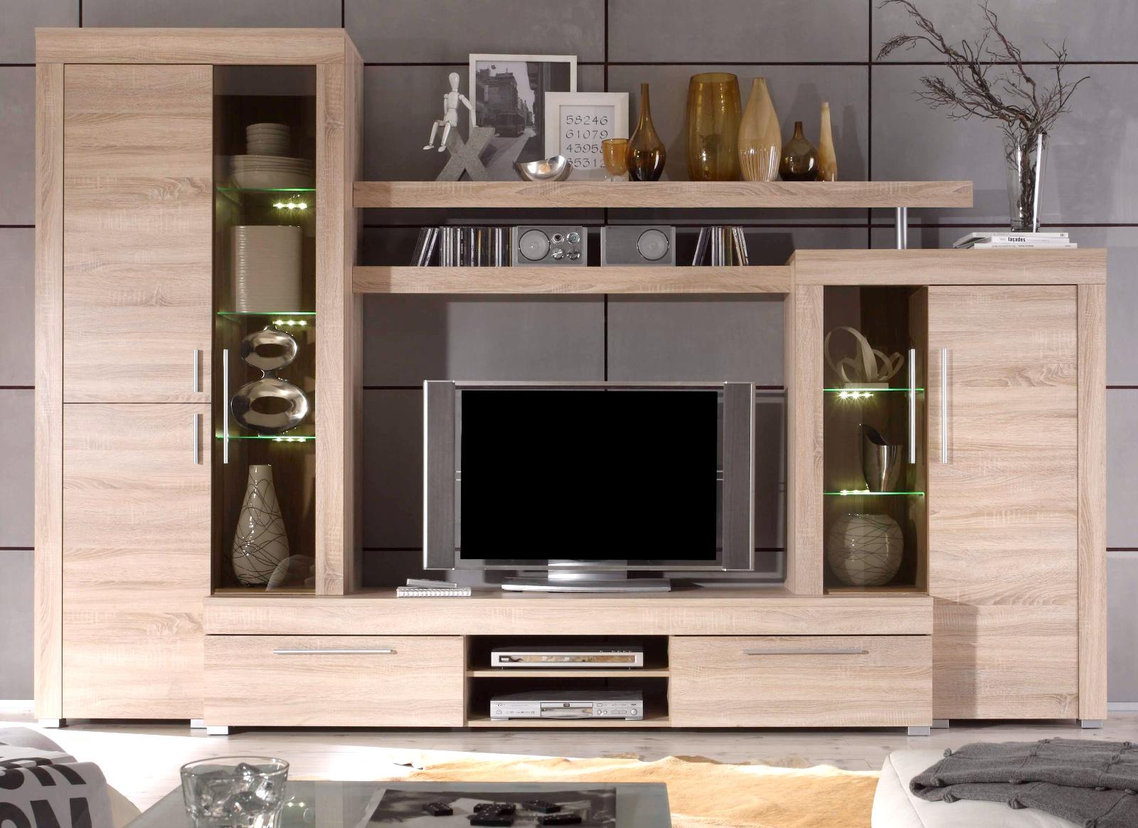 wohnwand schrankwand sonoma eiche anbauwand vitrine inkl led beleuchtung boom ebay. Black Bedroom Furniture Sets. Home Design Ideas