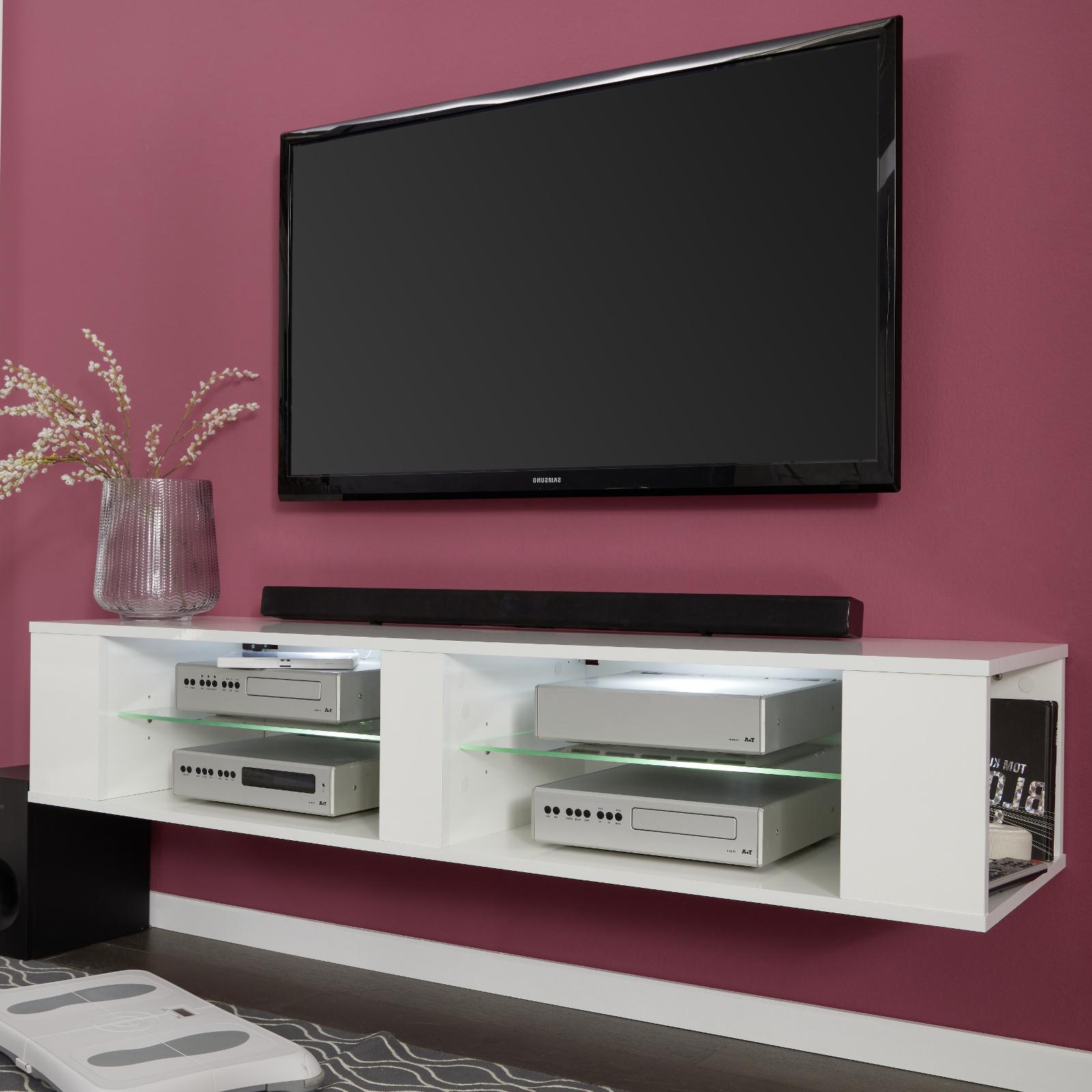 TV-Lowboard Hennes in weiß Glanz TV-Unterteil wahlweise hängend oder  stehend 140 x 30 cm