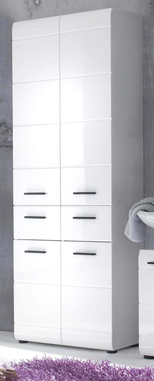 hochschrank weiss hochglanz bad badezimmer schrank badm bel skin 4 t rig 60 cm ebay. Black Bedroom Furniture Sets. Home Design Ideas