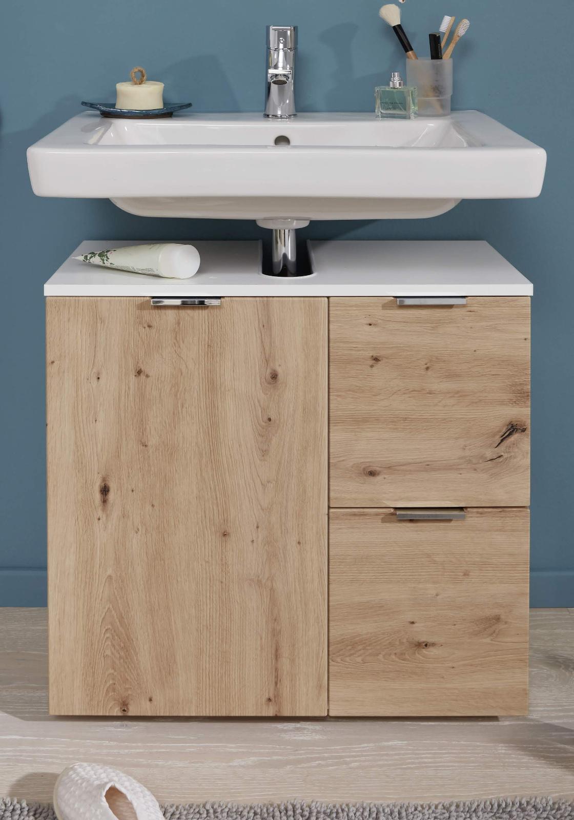 Badezimmer Waschbeckenunterschrank Concept20 in Asteiche / Eiche und weiß  Badmöbel 20 x 20 cm Badschrank