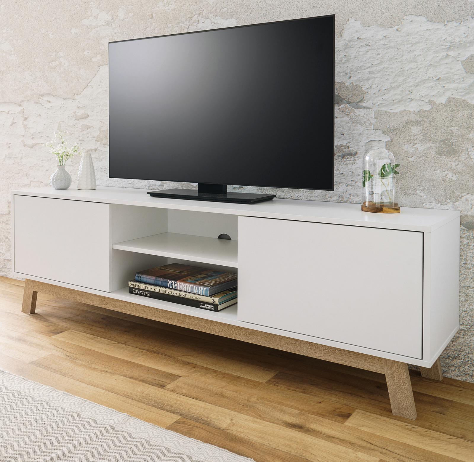 TV-Unterteil Lowboard TV Fernsehtisch Arena Hochglanz weiß Sonoma Eiche 150 cm
