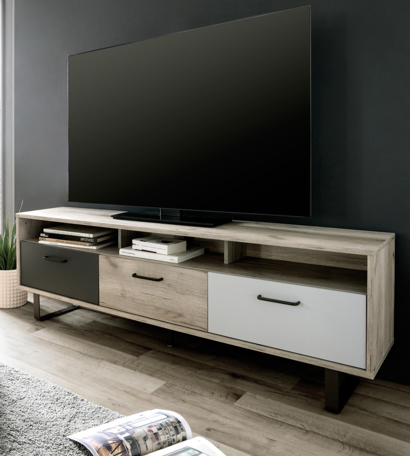 Tv Lowboard Orlando Eiche Grau Tricolor 160 X 53 Cm