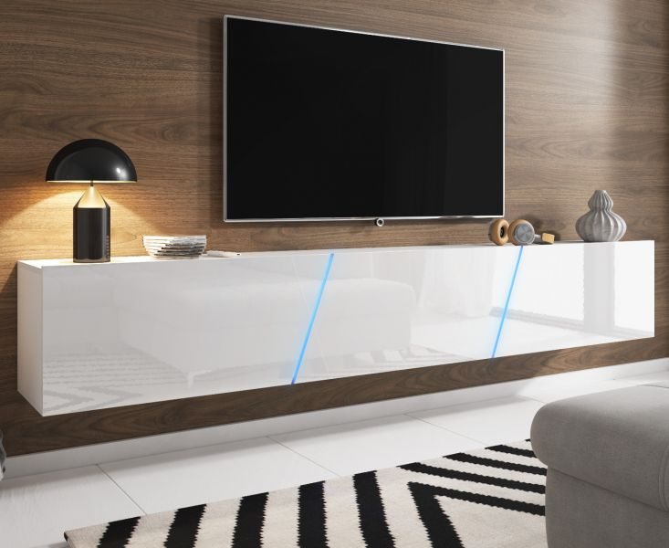 Tv Lowboard Space Weiss Hochglanz Lack Mit Led 240 Cm