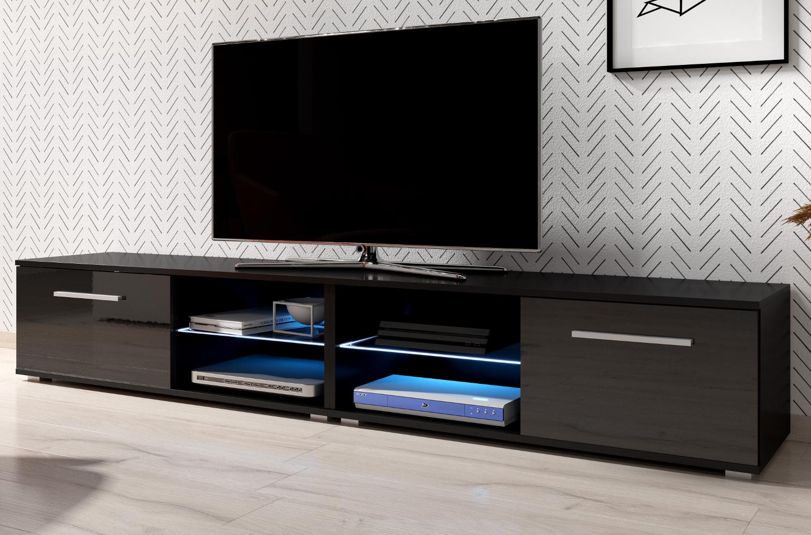 Tv Lowboard Earth In Hochglanz Schwarz Tv Unterteil 200 X 36 Cm Fernsehtisch Inkl Led Beleuchtung