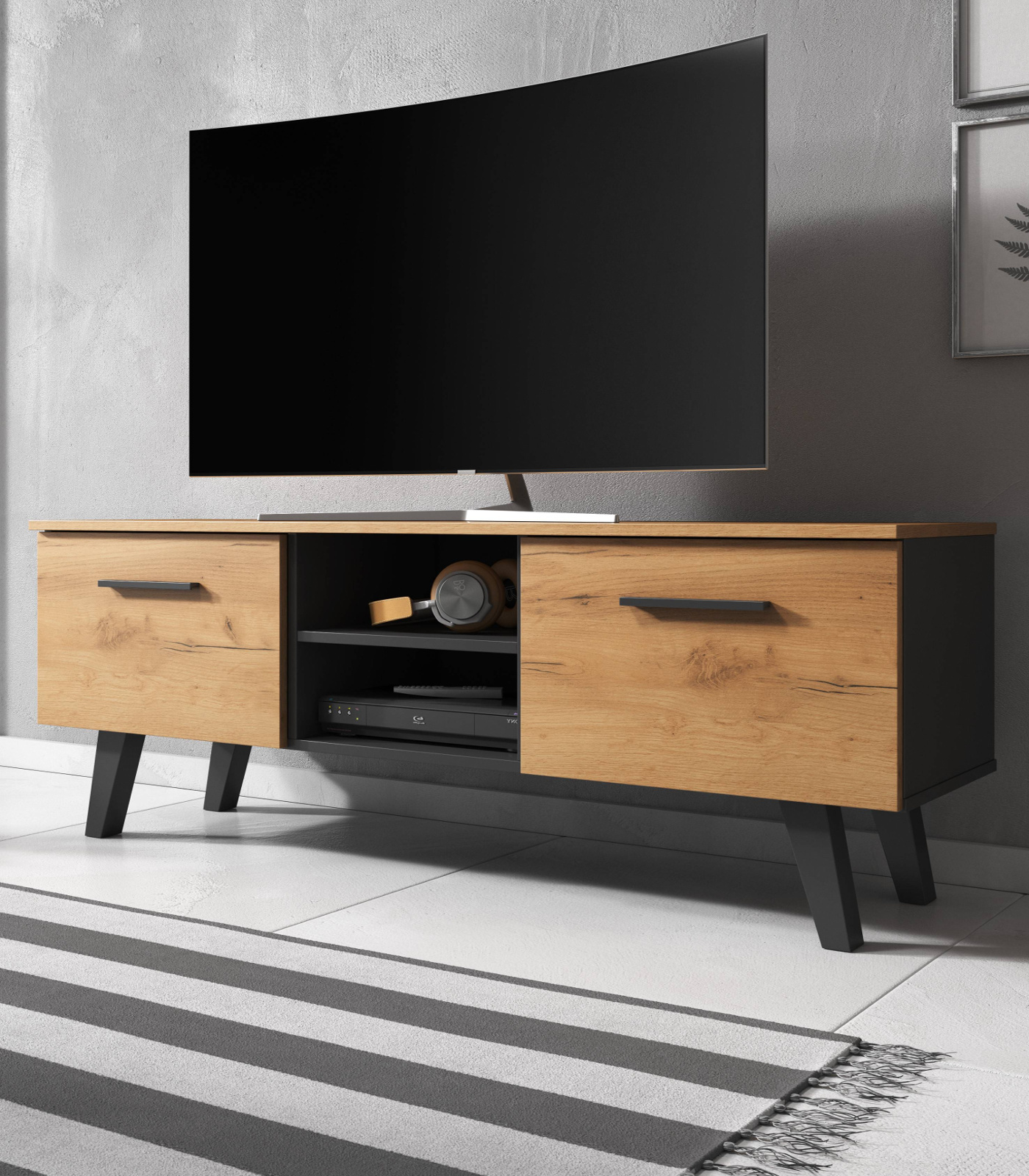 Tv Lowboard Eiche Gold Schwarz Flat Tv Unterschrank Fernsehtisch