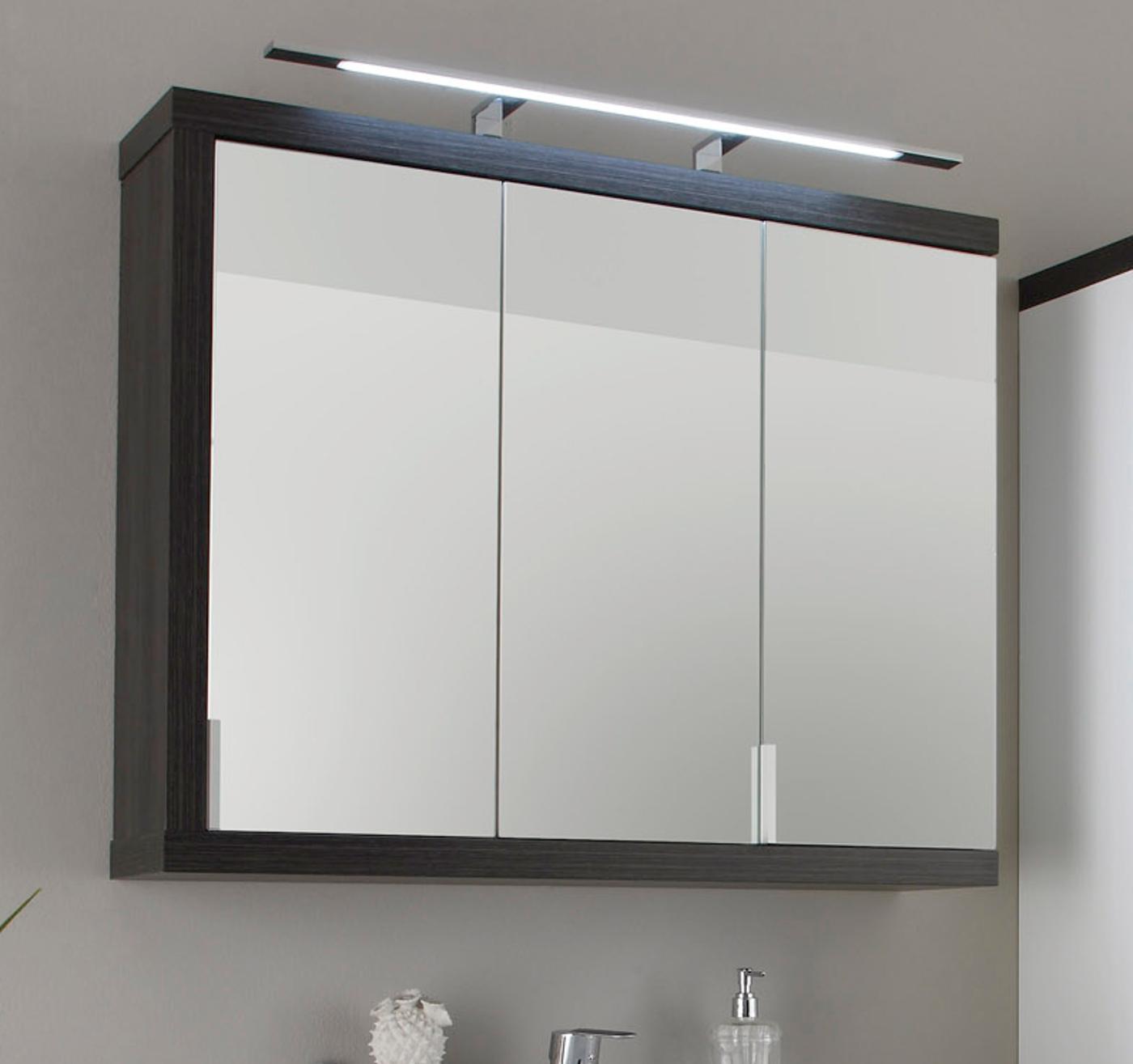 """Badezimmer: Spiegelschrank """"Sunrise"""" rauchsilber, grau, 17-türig (17x17 cm)"""