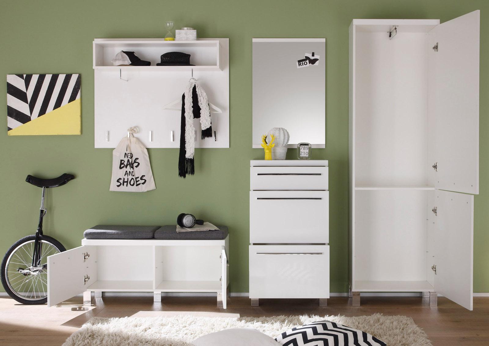 garderobe garderobenspiegel hochglanz wei. Black Bedroom Furniture Sets. Home Design Ideas