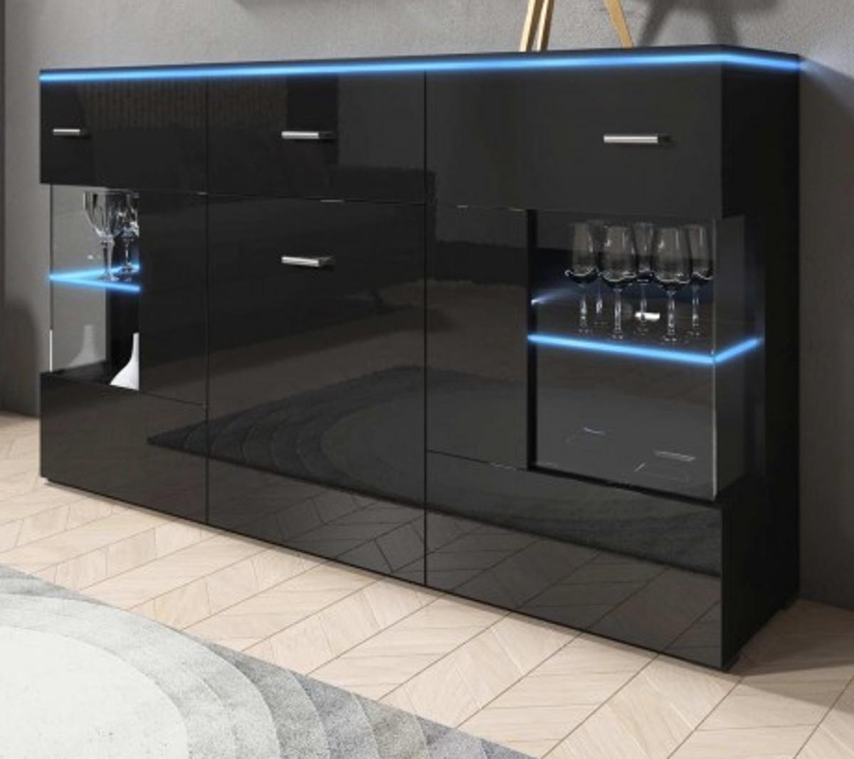 Détails sur Buffet Commode Noir Laqué avec LED Salon Salle à Manger Console  Charme