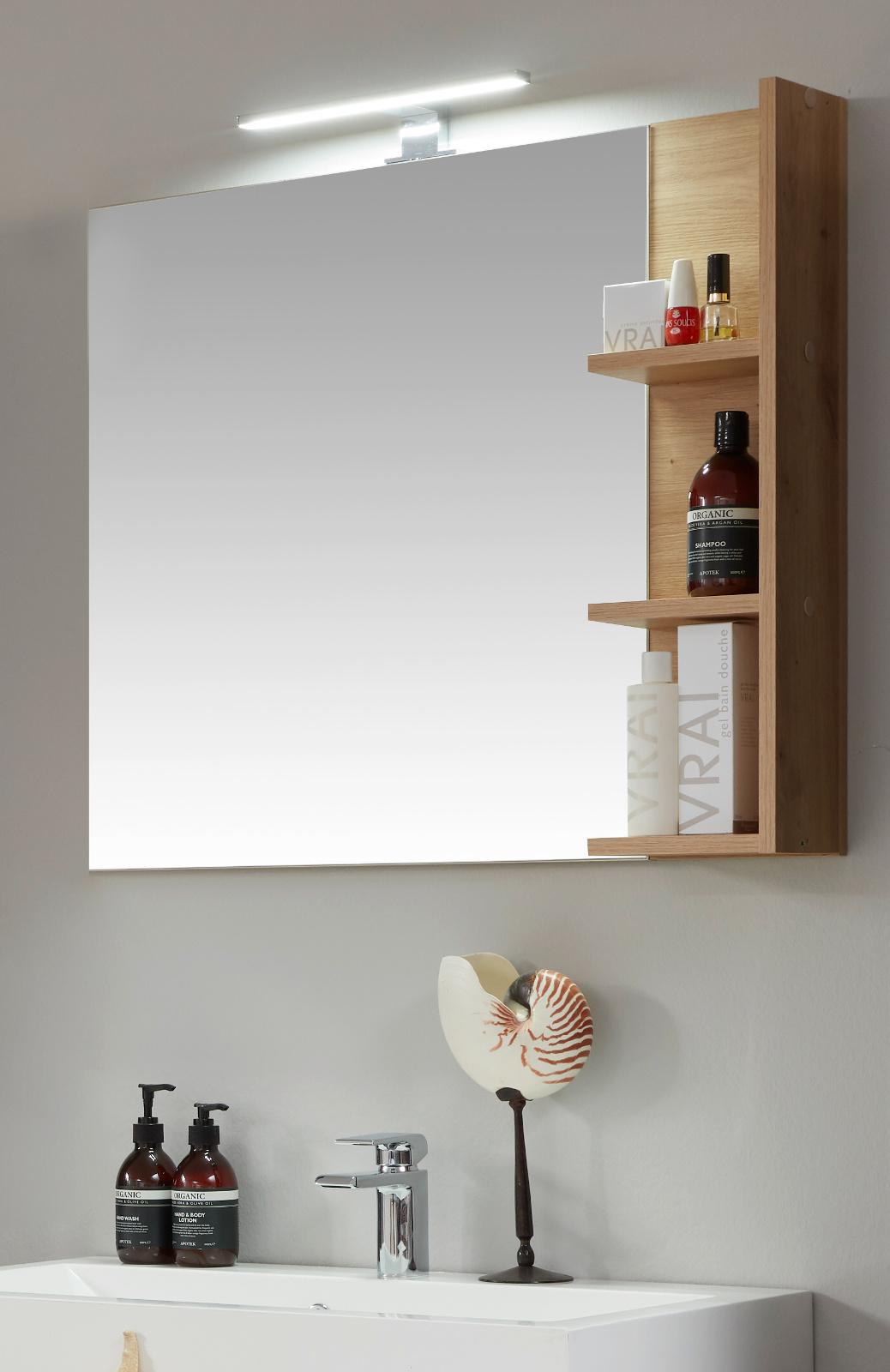 Badezimmer Spiegel One in Eiche / Asteiche Badmöbel 10 x 10 cm Wandspiegel  mit Ablage