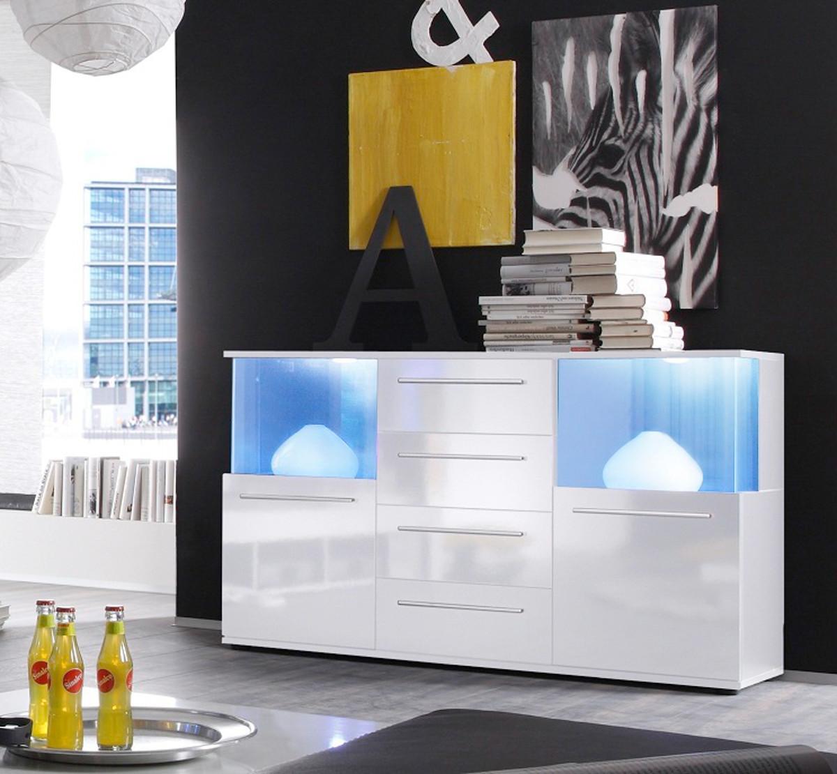 Wohnwand Schrankwand weiß Hochglanz + Beleuchtung