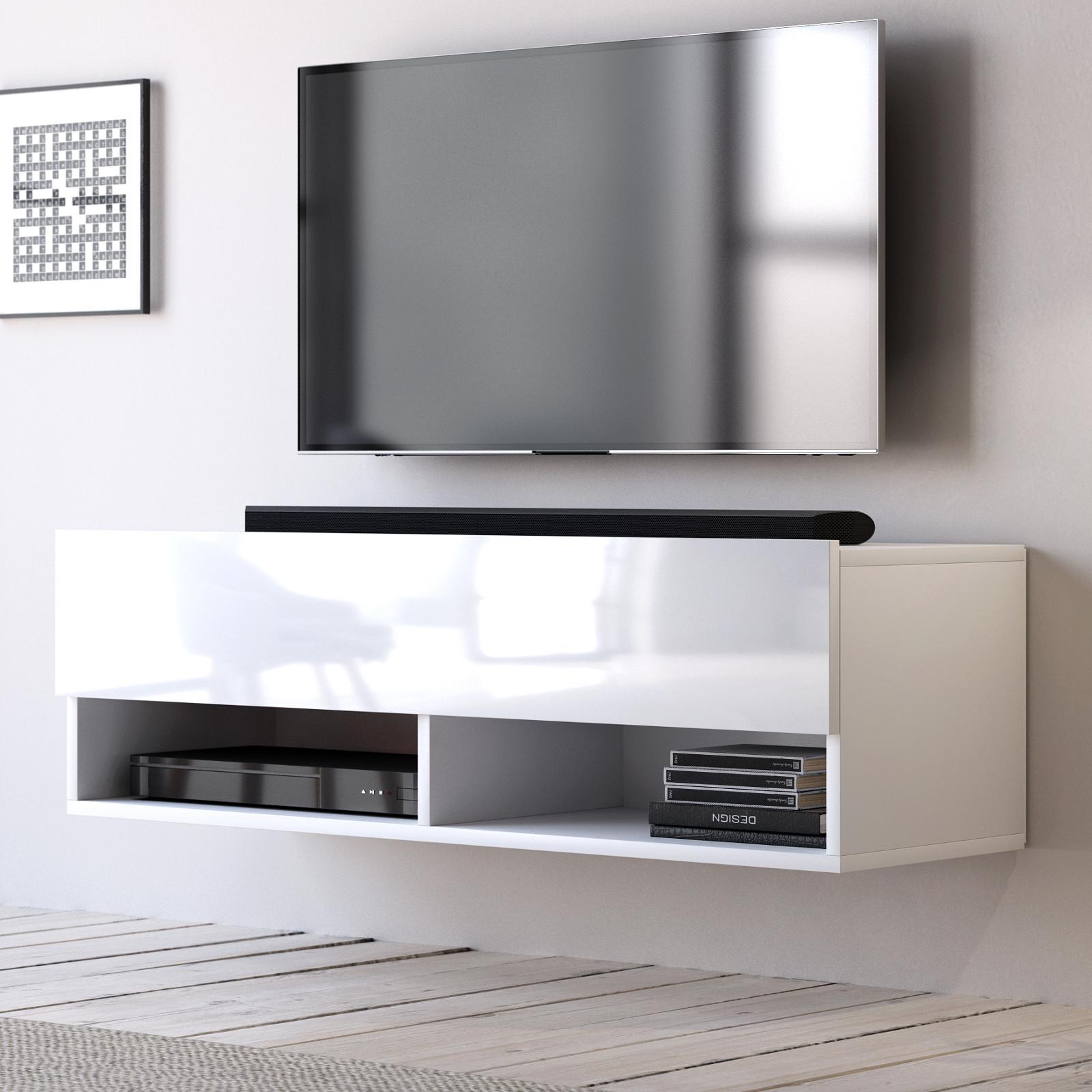 Tv Lowboard Epsom In Hochglanz Weiß Tv Unterteil Hängend 100 X 30 Cm Fernsehschrank
