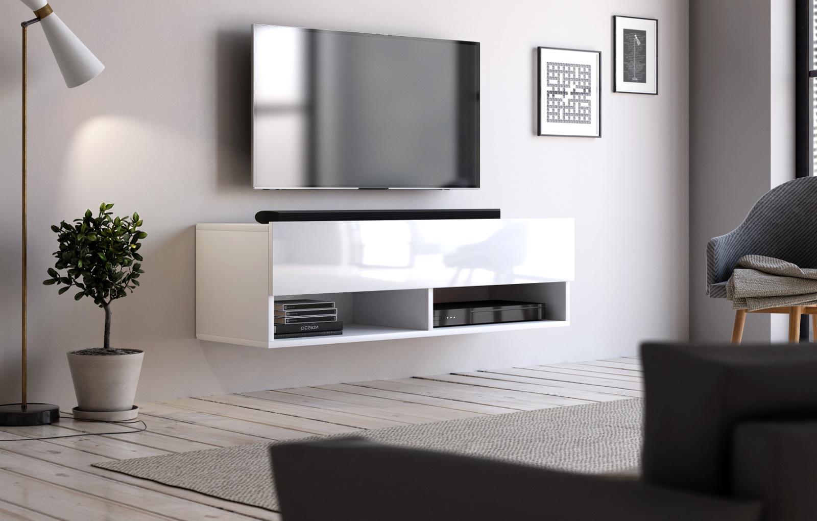 TV-Lowboard Epsom in Hochglanz weiß TV-Unterteil hängend 100 x 30 cm  Fernsehschrank